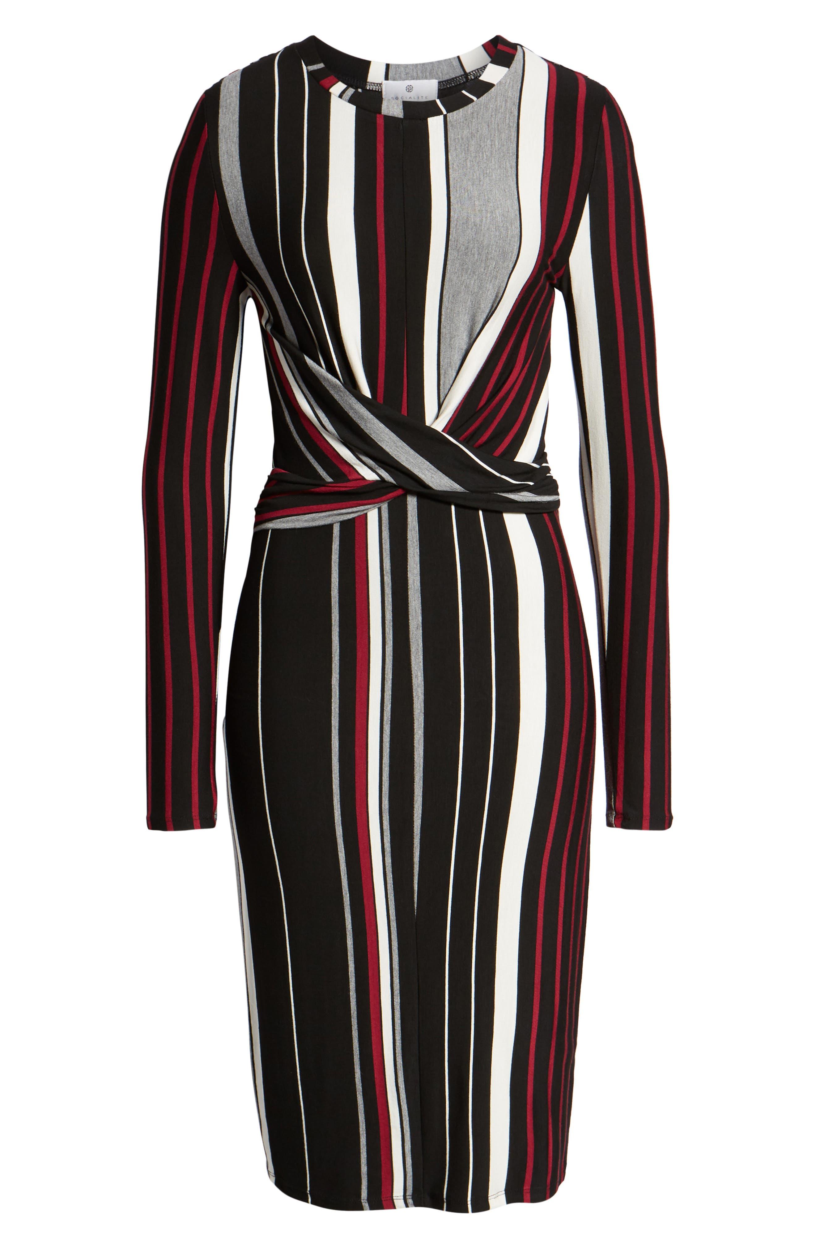 Wrap Front Midi Dress,                             Alternate thumbnail 7, color,                             002