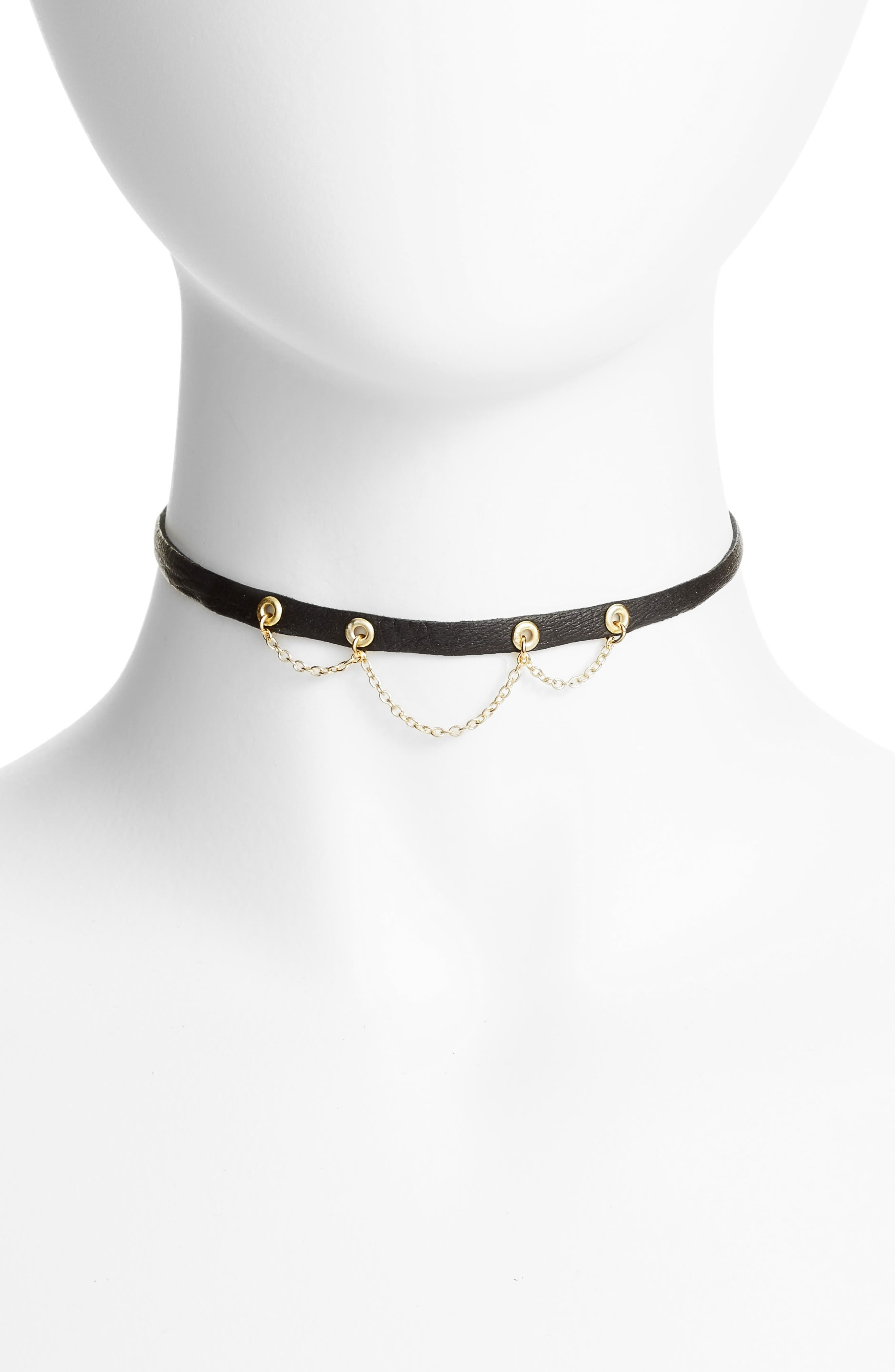 Leather & Chain Choker,                             Alternate thumbnail 2, color,                             001
