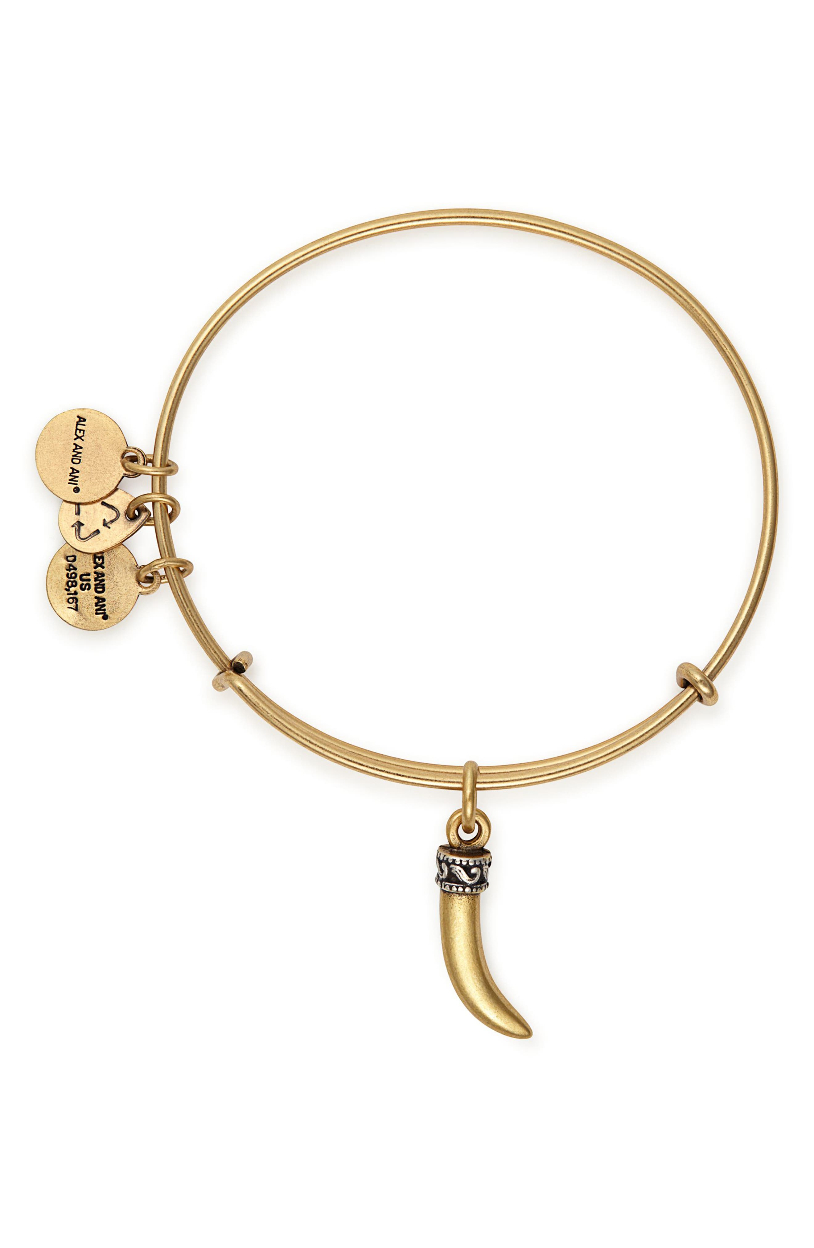 Horn Charm Adjustable Bangle,                             Alternate thumbnail 2, color,