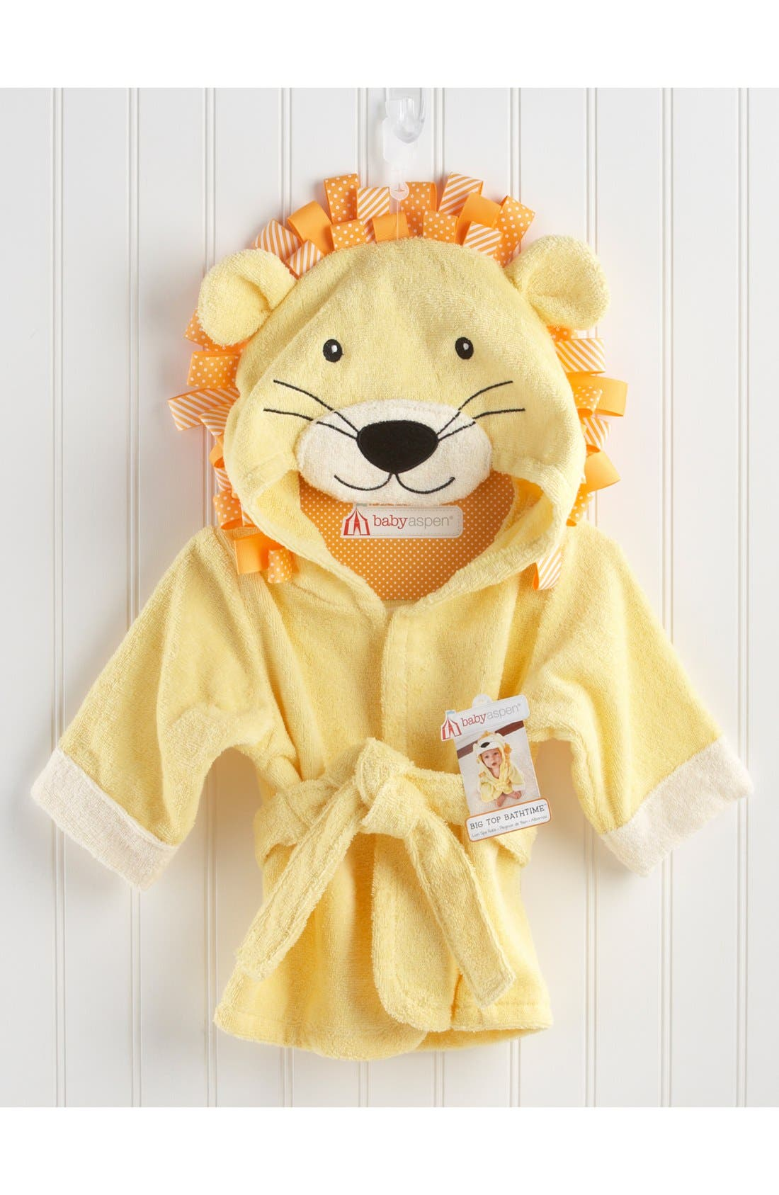 'Big Top Bathtime' Lion Hooded Terry Robe,                             Alternate thumbnail 3, color,                             YELLOW