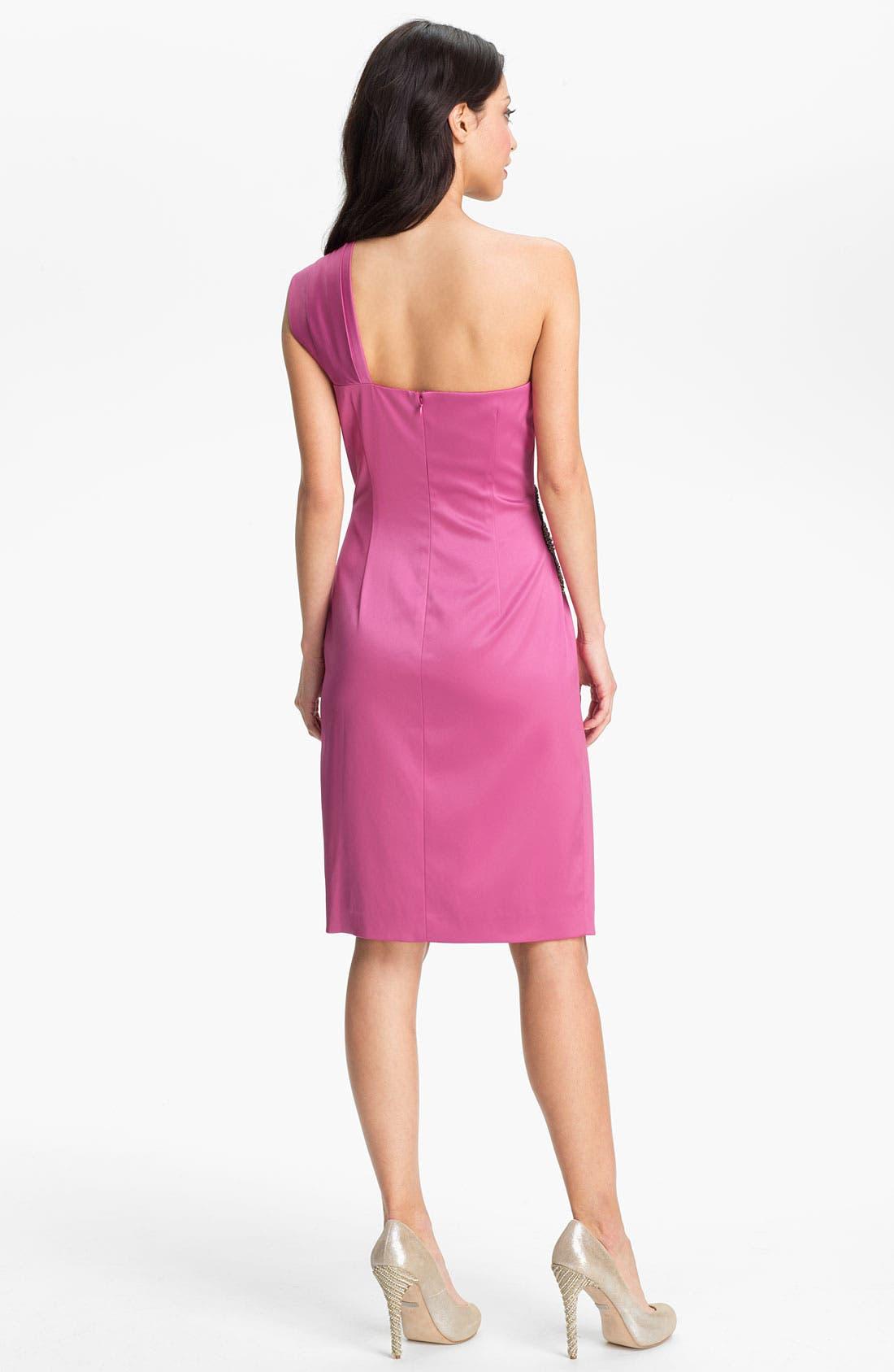 Beaded One-Shoulder Satin Dress,                             Alternate thumbnail 14, color,