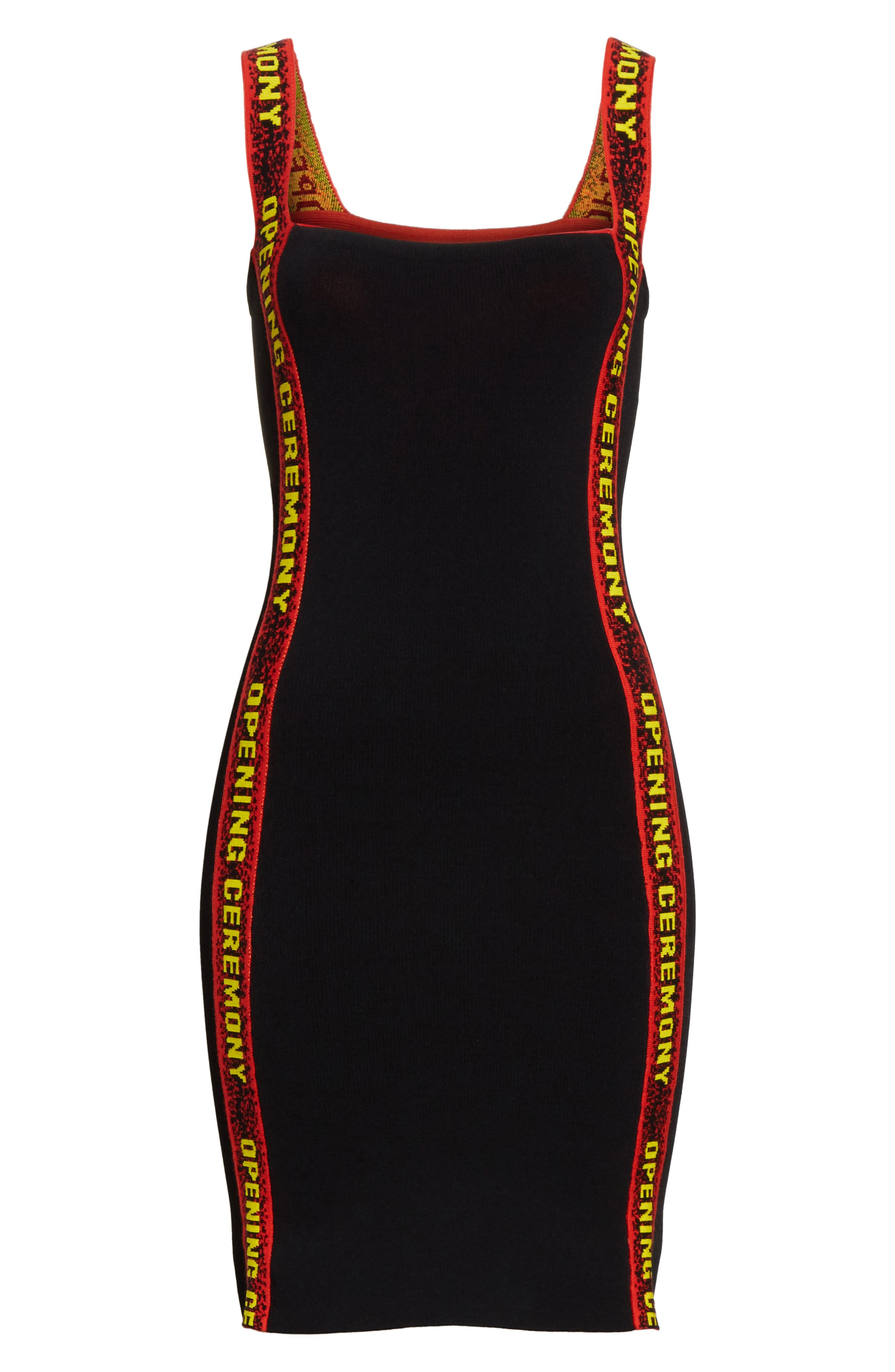 Logo Tape Ribbed Body-Con Dress,                             Alternate thumbnail 6, color,                             001