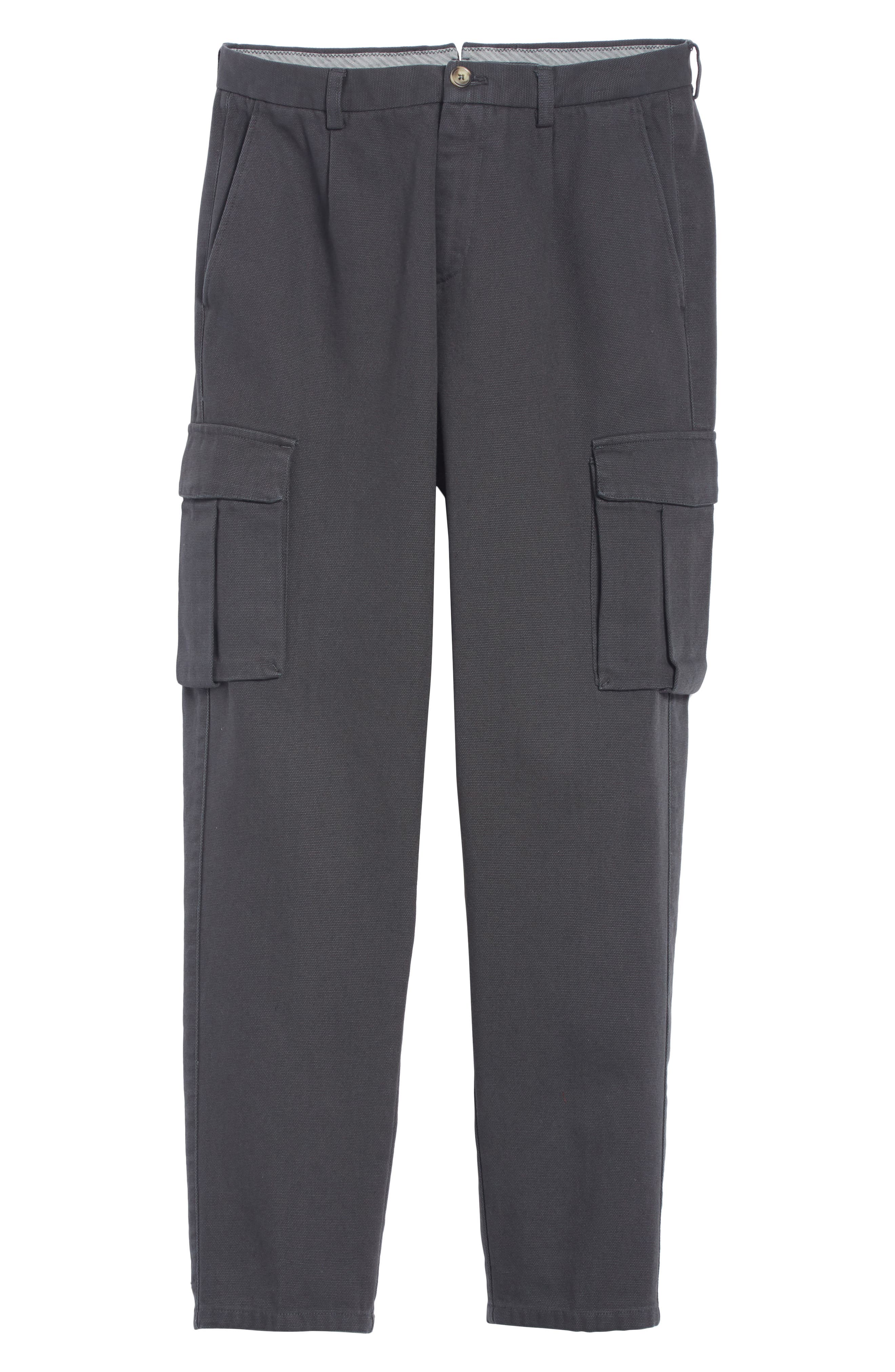 Stretch Canvas Cargo Pants,                             Alternate thumbnail 6, color,                             CHARCOAL