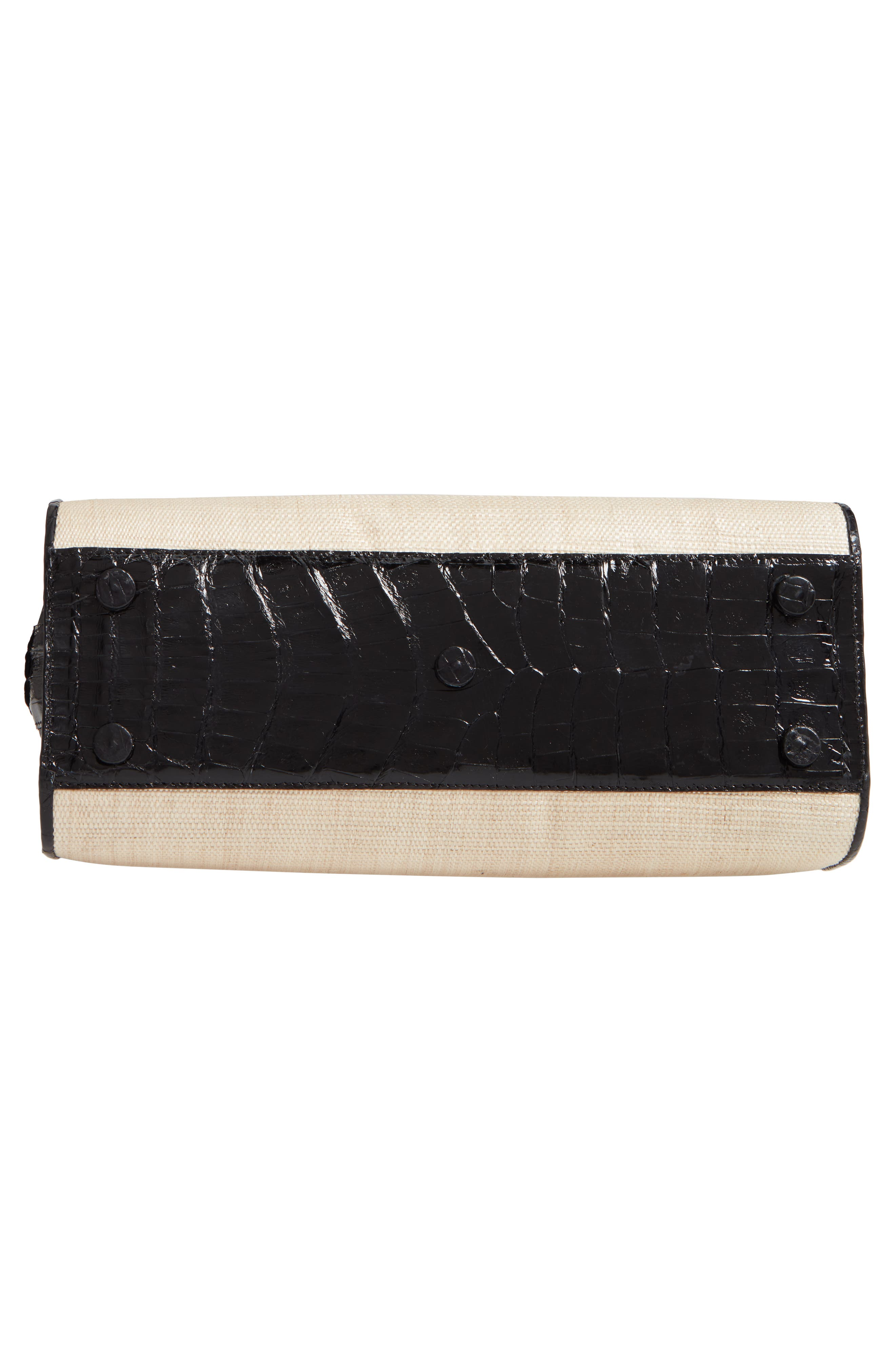Small Genuine Crocodile Top Handle Bag,                             Alternate thumbnail 6, color,                             BLACK/ STRAW