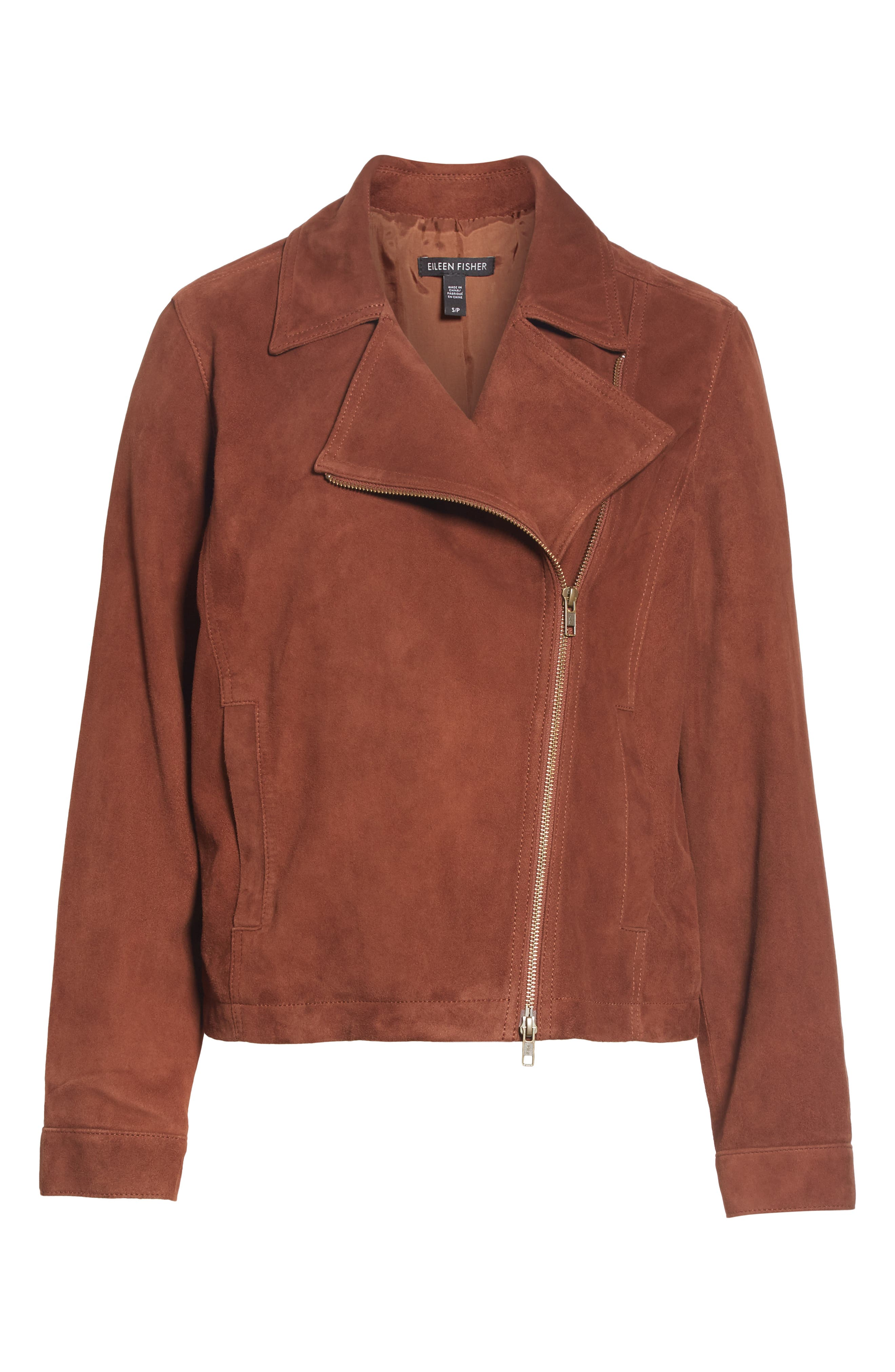 Asymmetrical Zip Suede Jacket,                             Alternate thumbnail 5, color,                             NUTMEG