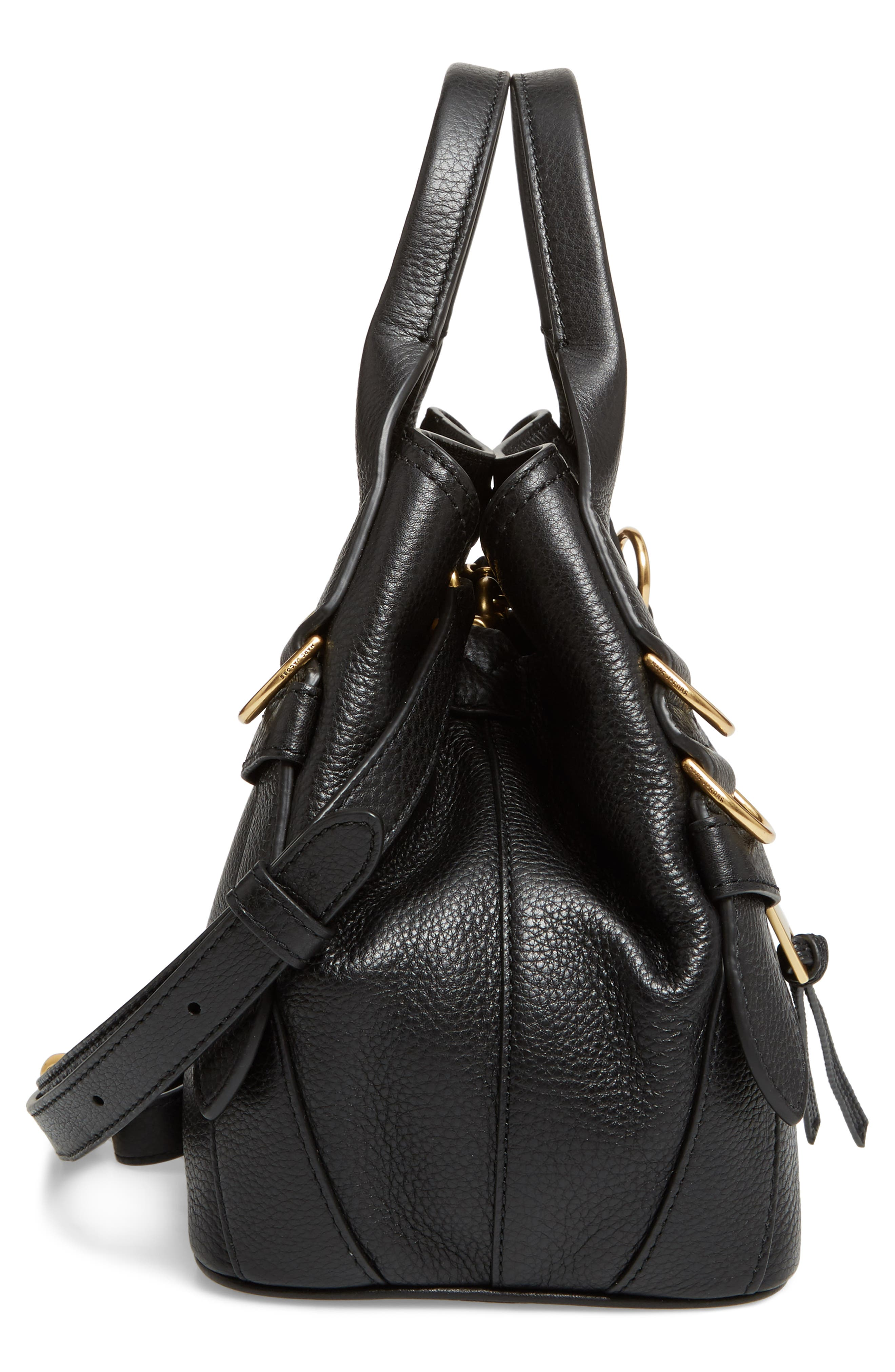 MARC JACOBS,                             The Small Anchor Leather Shoulder Bag,                             Alternate thumbnail 5, color,                             001