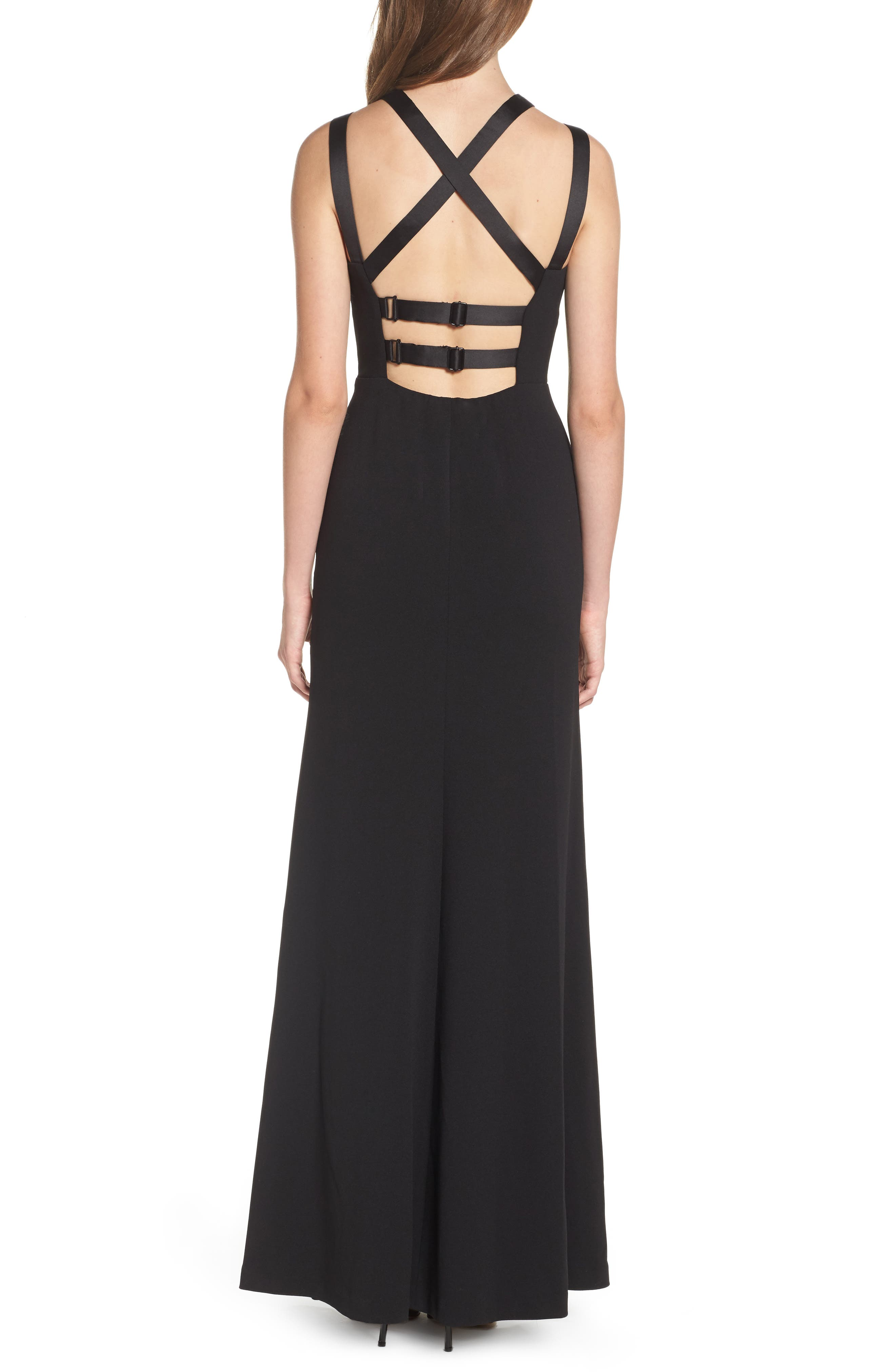 High Neck Strappy Gown,                             Alternate thumbnail 2, color,                             001