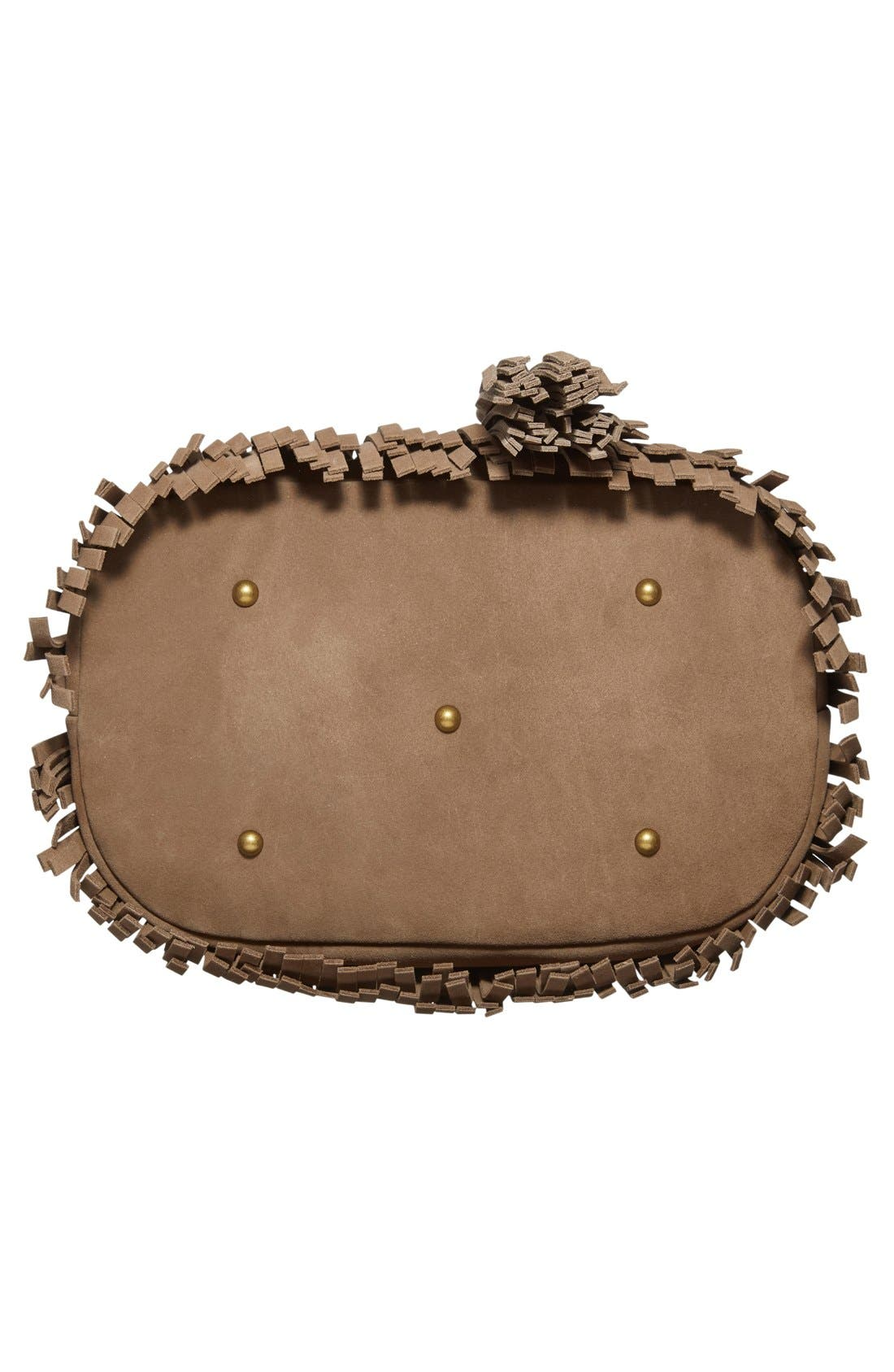 'Heidi' Fringe Suede Bucket Bag,                             Alternate thumbnail 4, color,                             020
