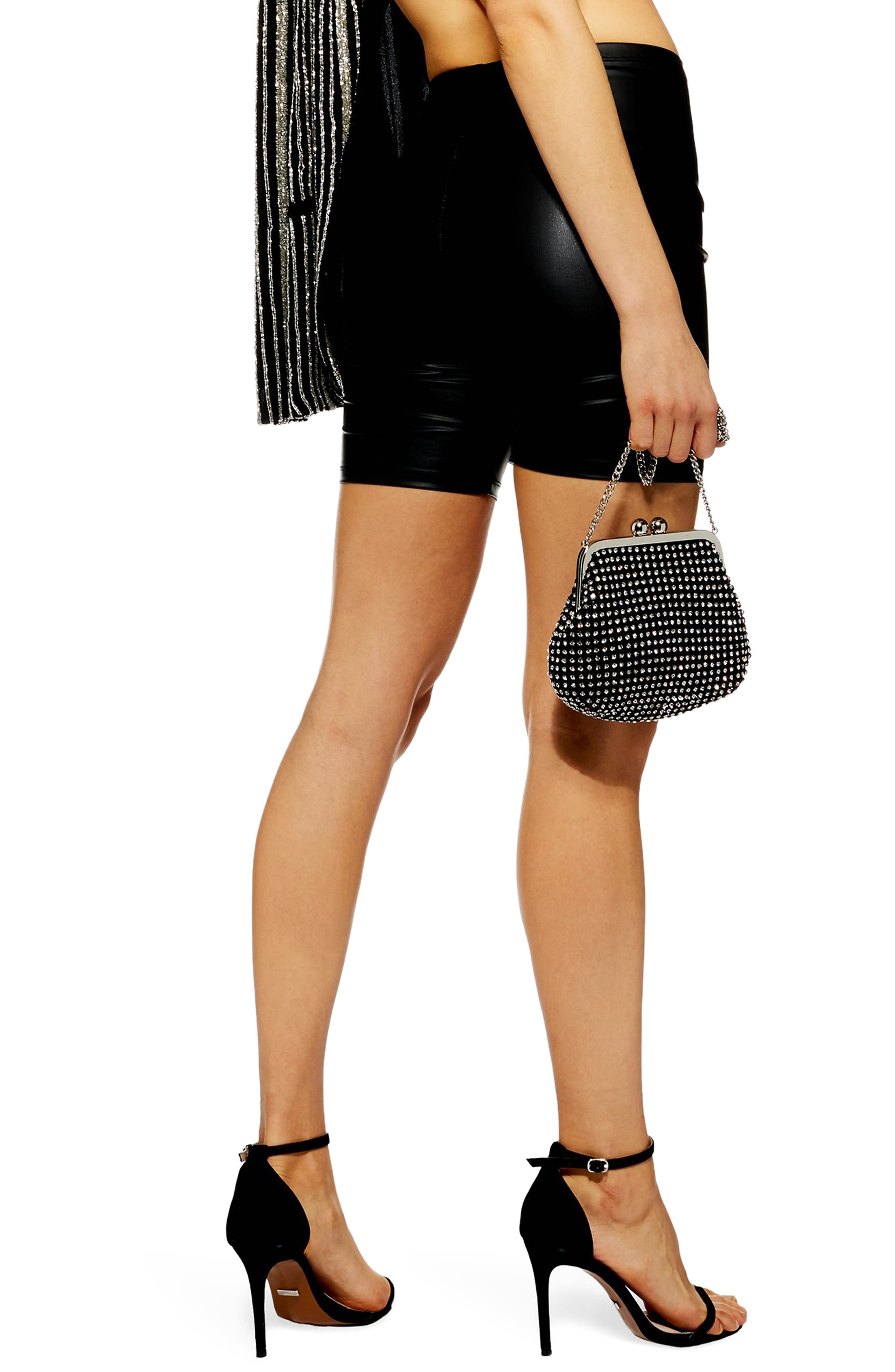 TOPSHOP,                             Faux Leather Cycling Shorts,                             Alternate thumbnail 2, color,                             BLACK