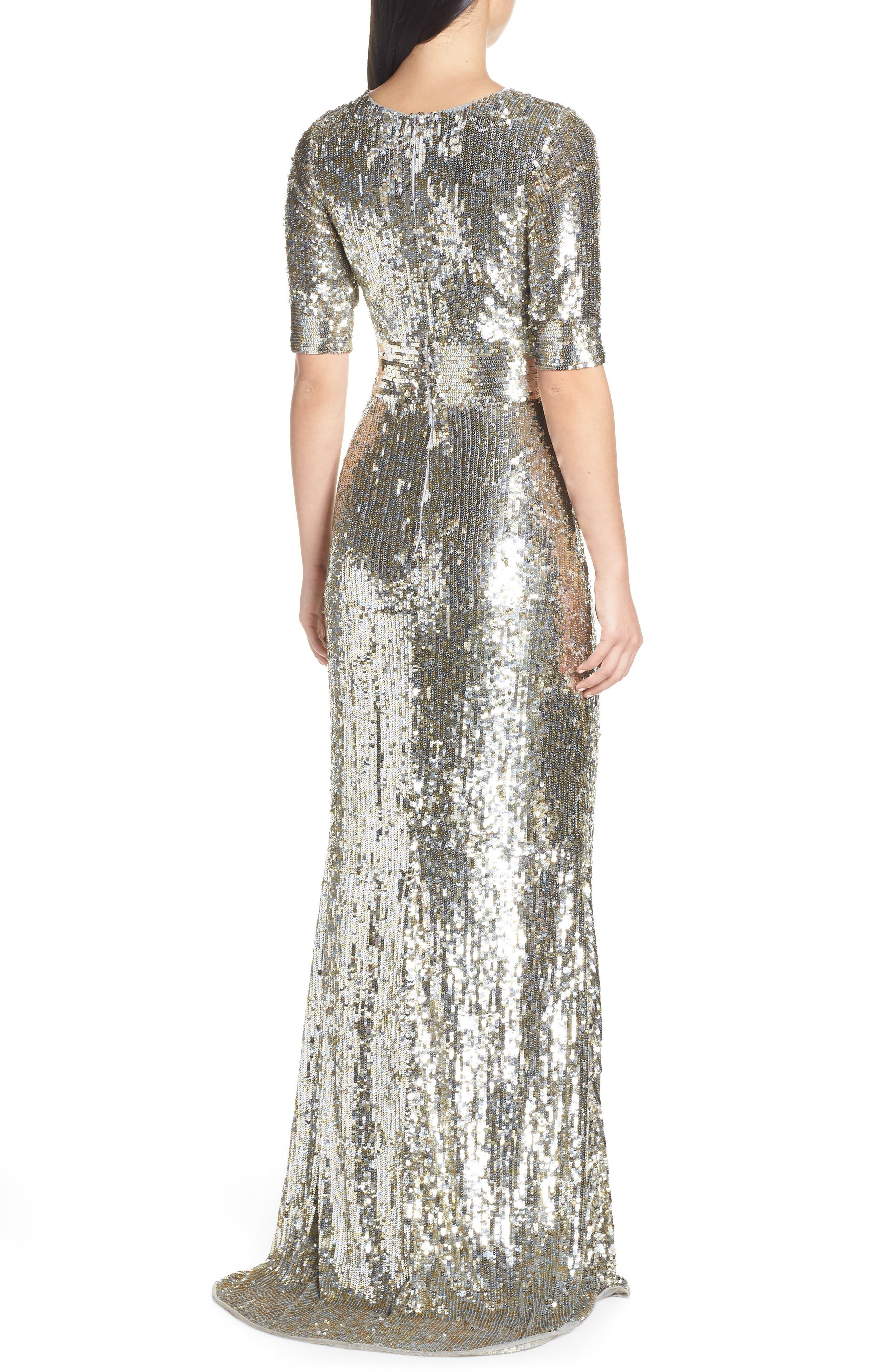 MAC DUGGAL,                             Sequin Stripe Evening Dress,                             Alternate thumbnail 2, color,                             PLATINUM