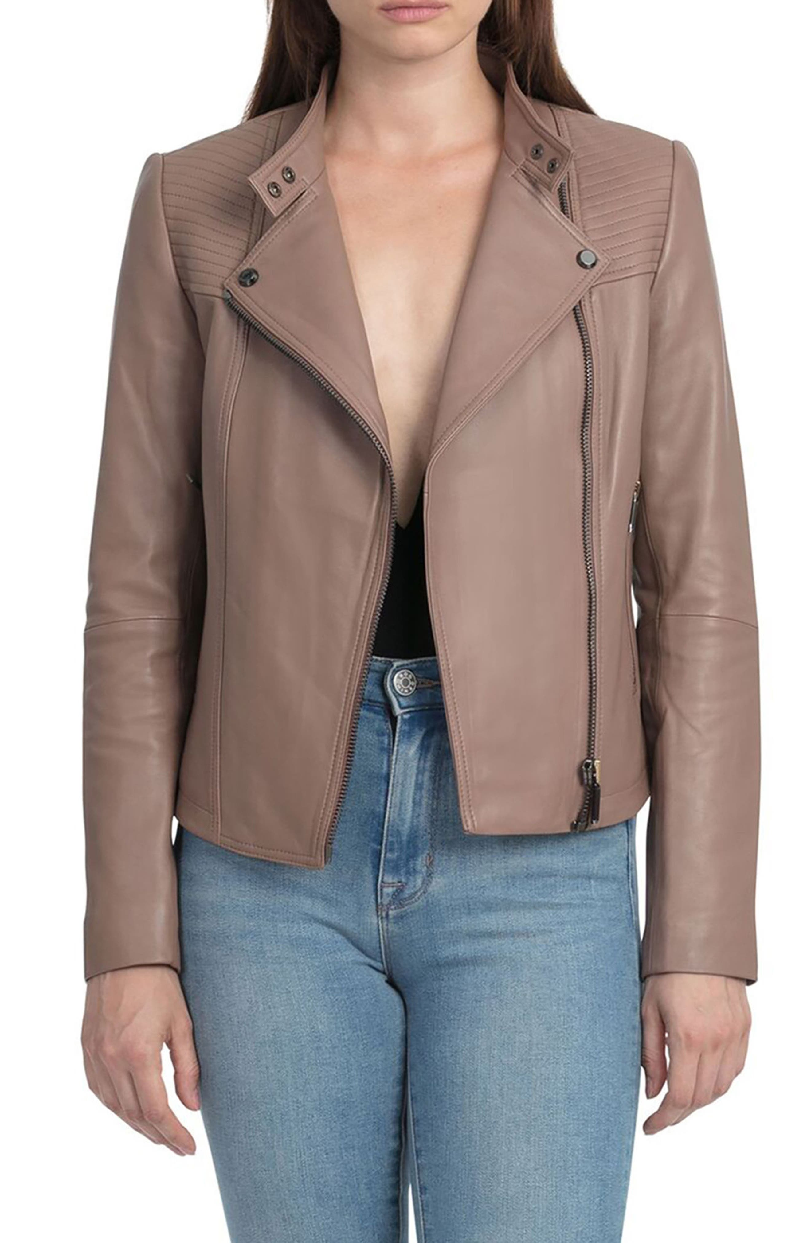 Bagatelle Quilted Lambskin Leather Moto Jacket,                         Main,                         color, 255