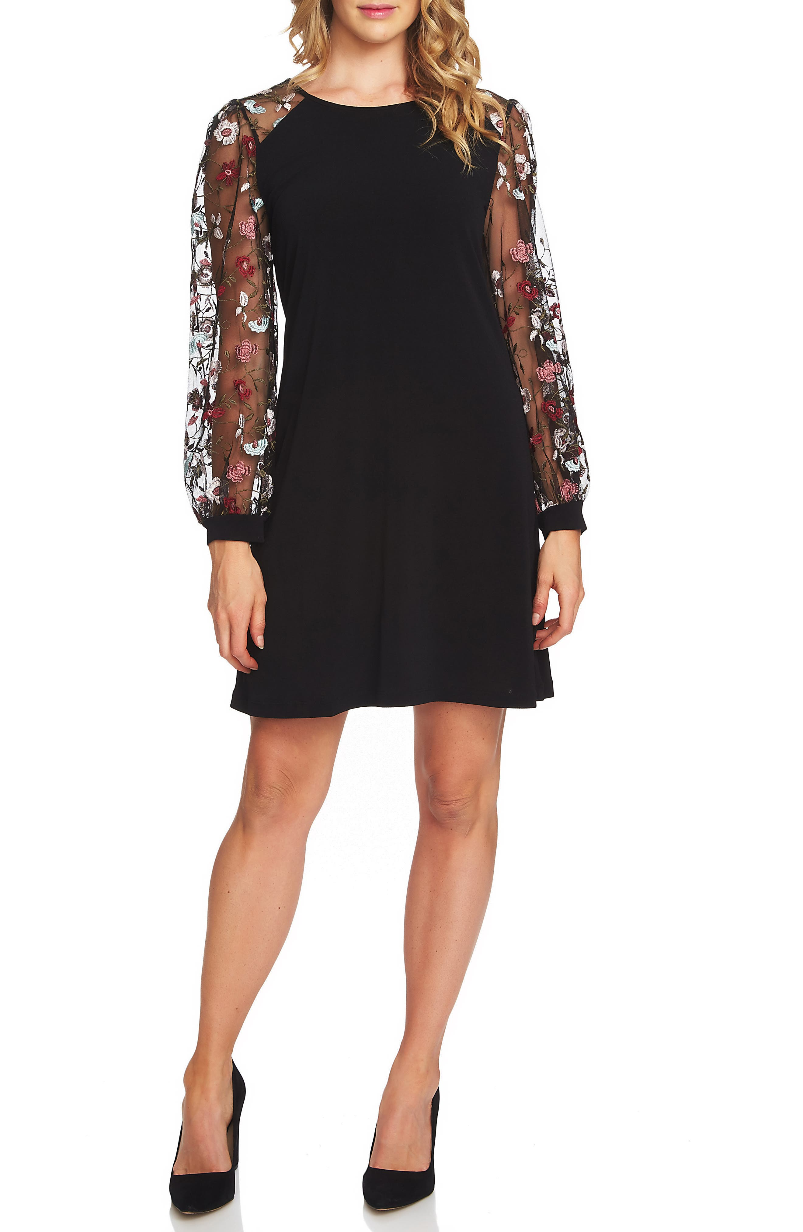 Embroidered Sleeve A-Line Dress,                             Main thumbnail 1, color,                             001