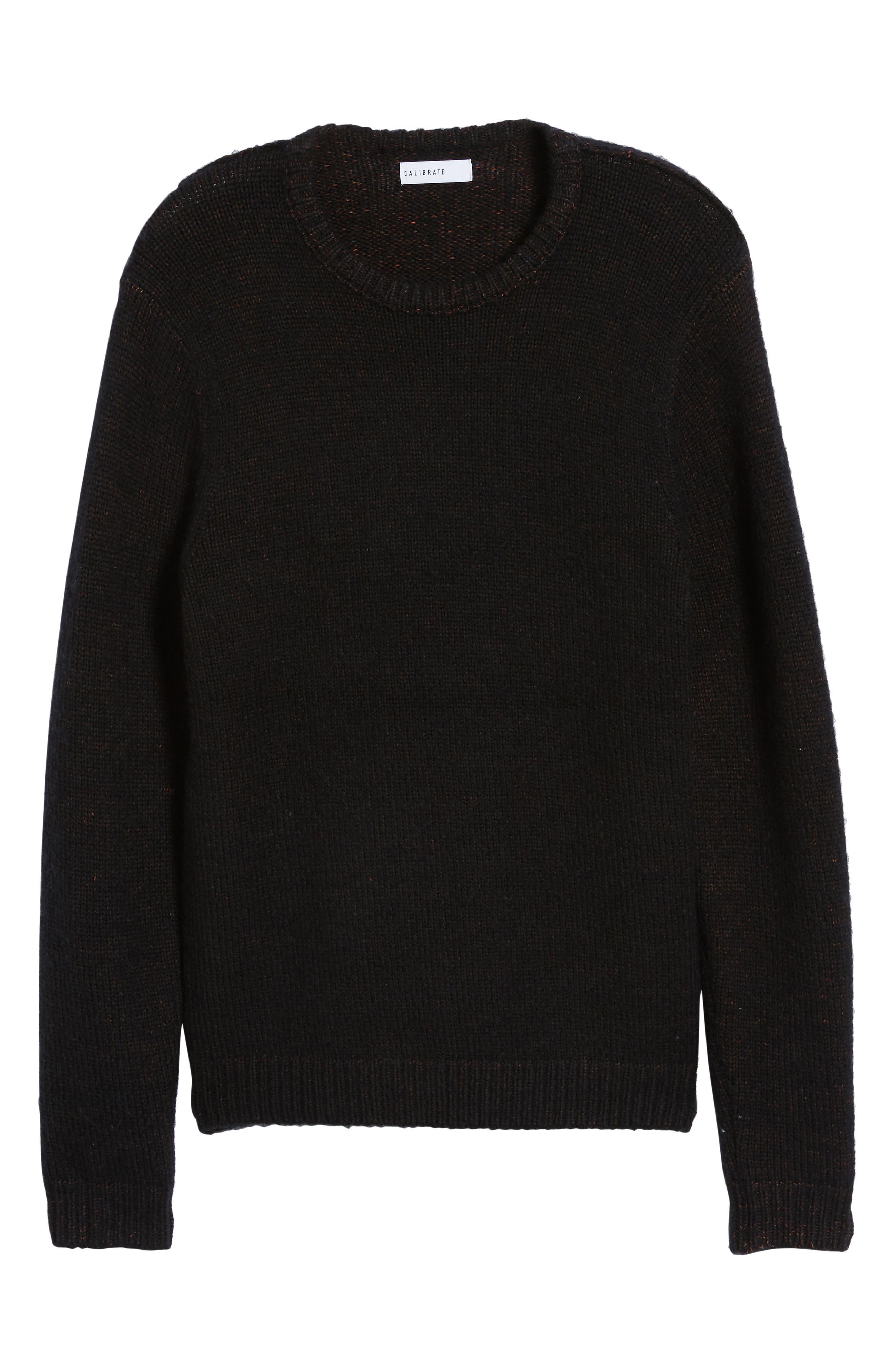 Chunky Crewneck Sweater,                             Alternate thumbnail 6, color,                             BLACK CAVIAR TWIST
