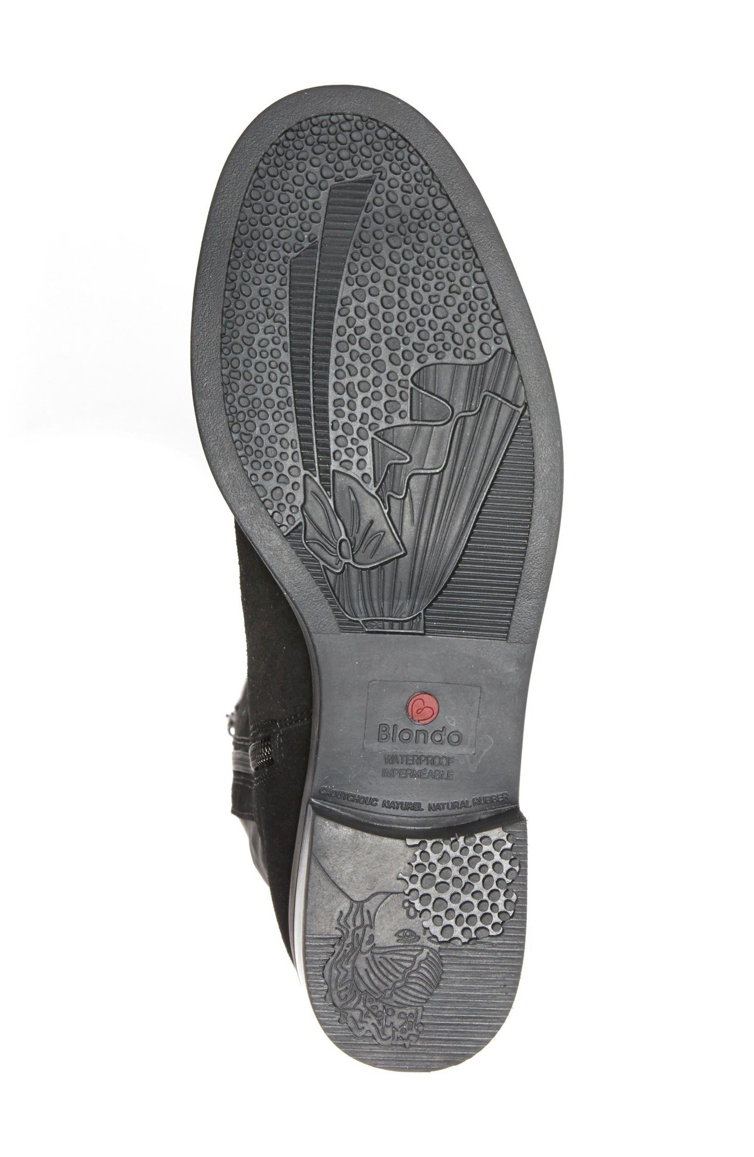 Ellie Waterproof Knee High Riding Boot,                             Alternate thumbnail 6, color,                             BLACK SUEDE