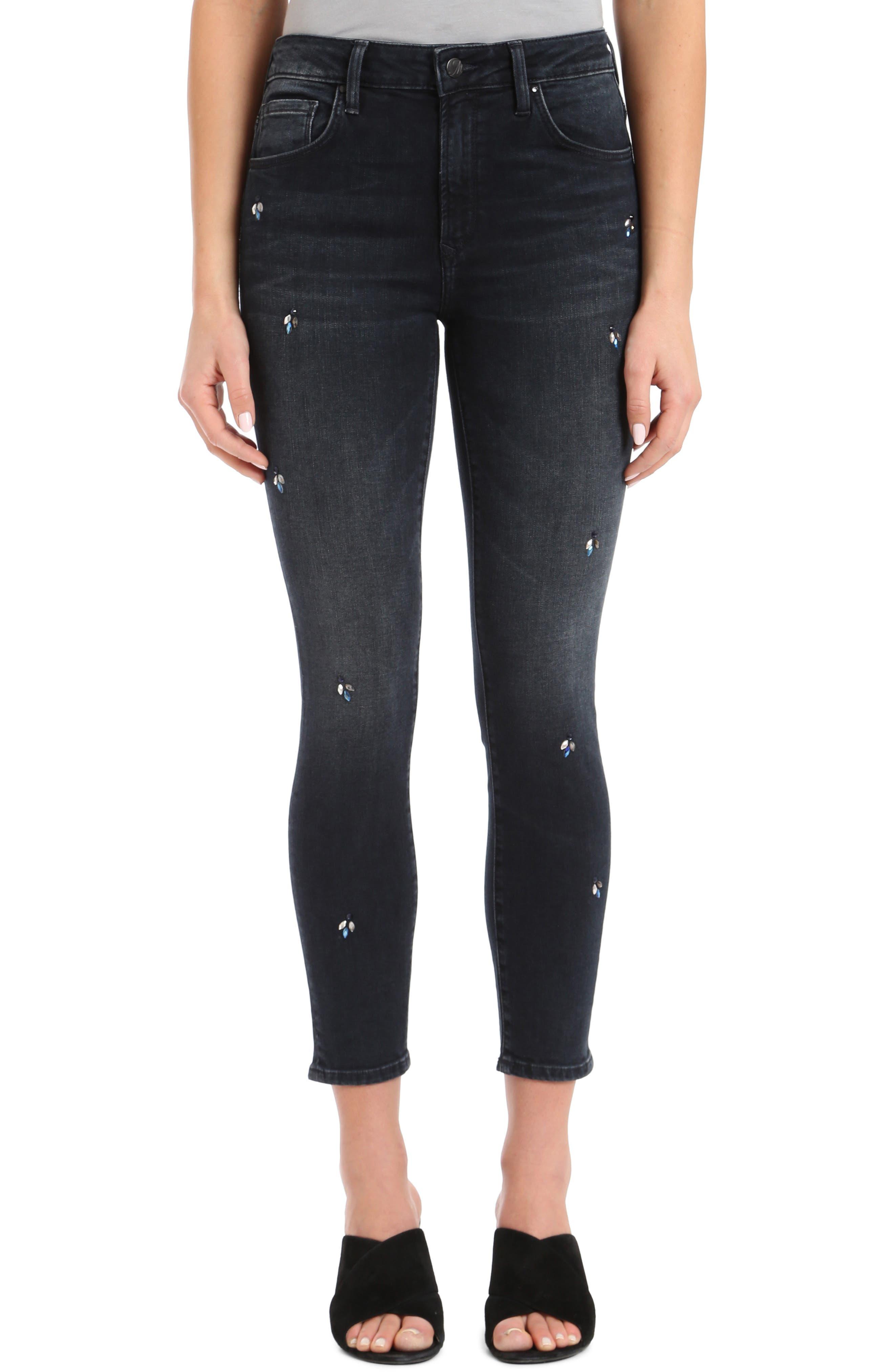 MAVI JEANS Tess Crystal Embellished Super Skinny Jeans in Blue