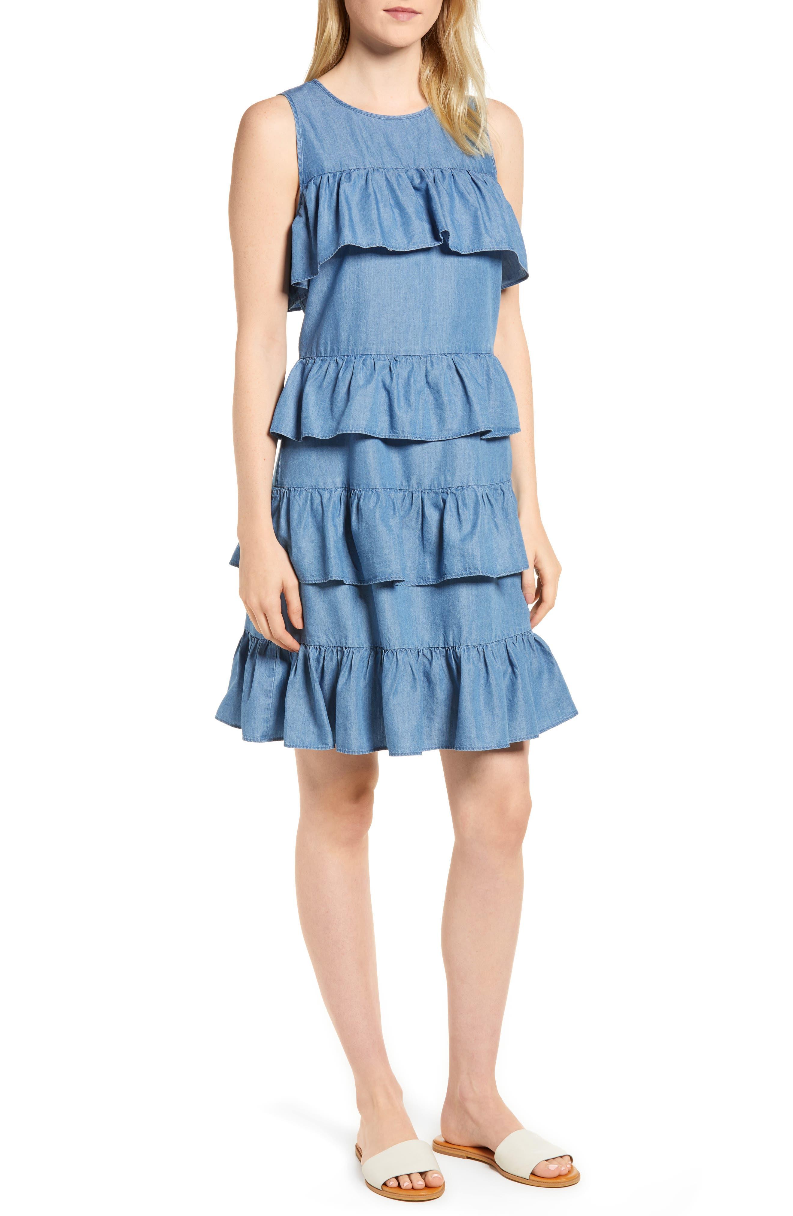Chambray Flounce Dress,                             Main thumbnail 1, color,                             401