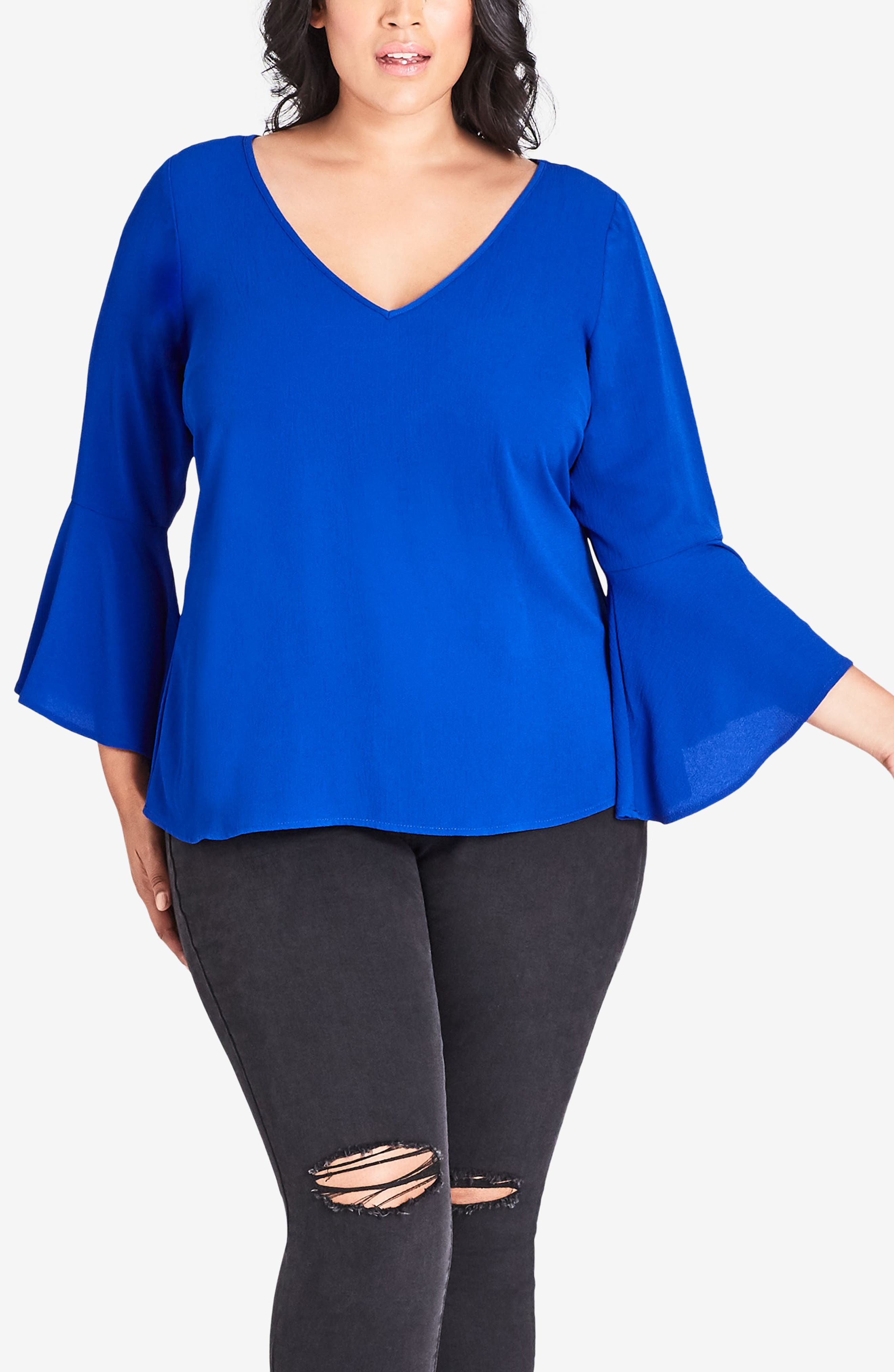 Bell Sleeve Top,                         Main,                         color, ULTRA BLUE