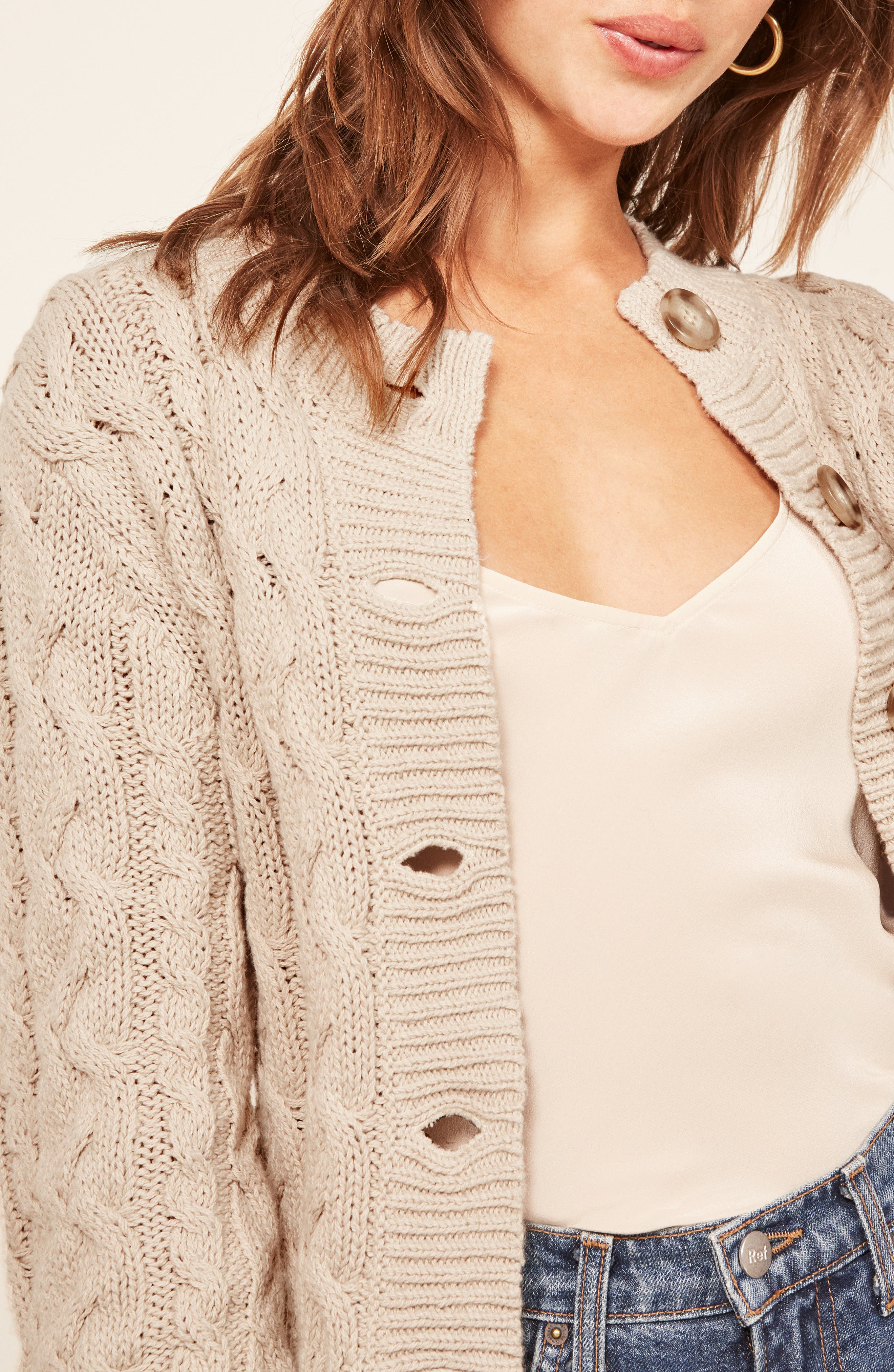 Annie Cable Knit Cardigan,                             Alternate thumbnail 4, color,                             PEARL