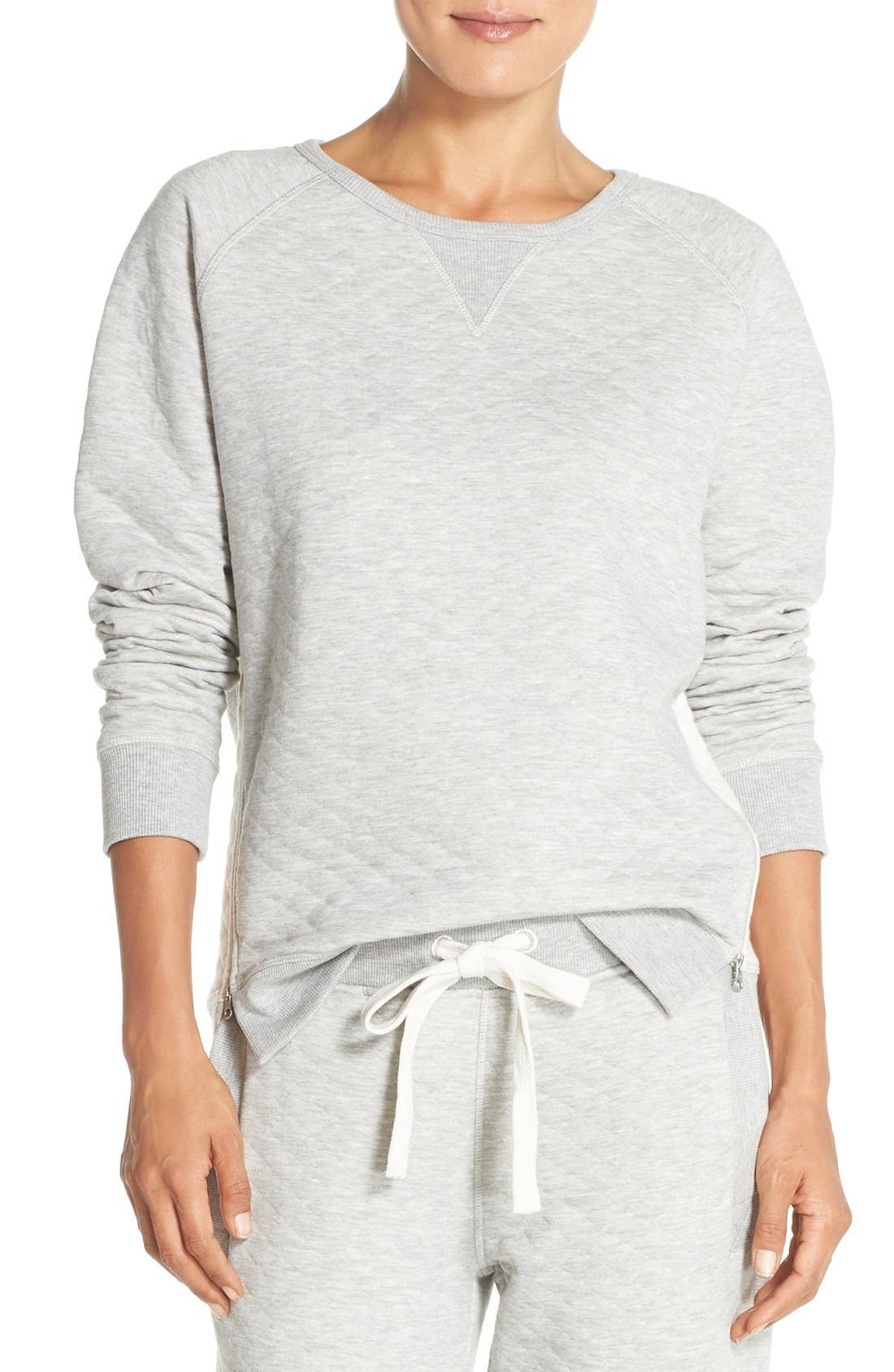 DANIEL BUCHLER Quilted Cotton Sweatshirt, Main, color, 020
