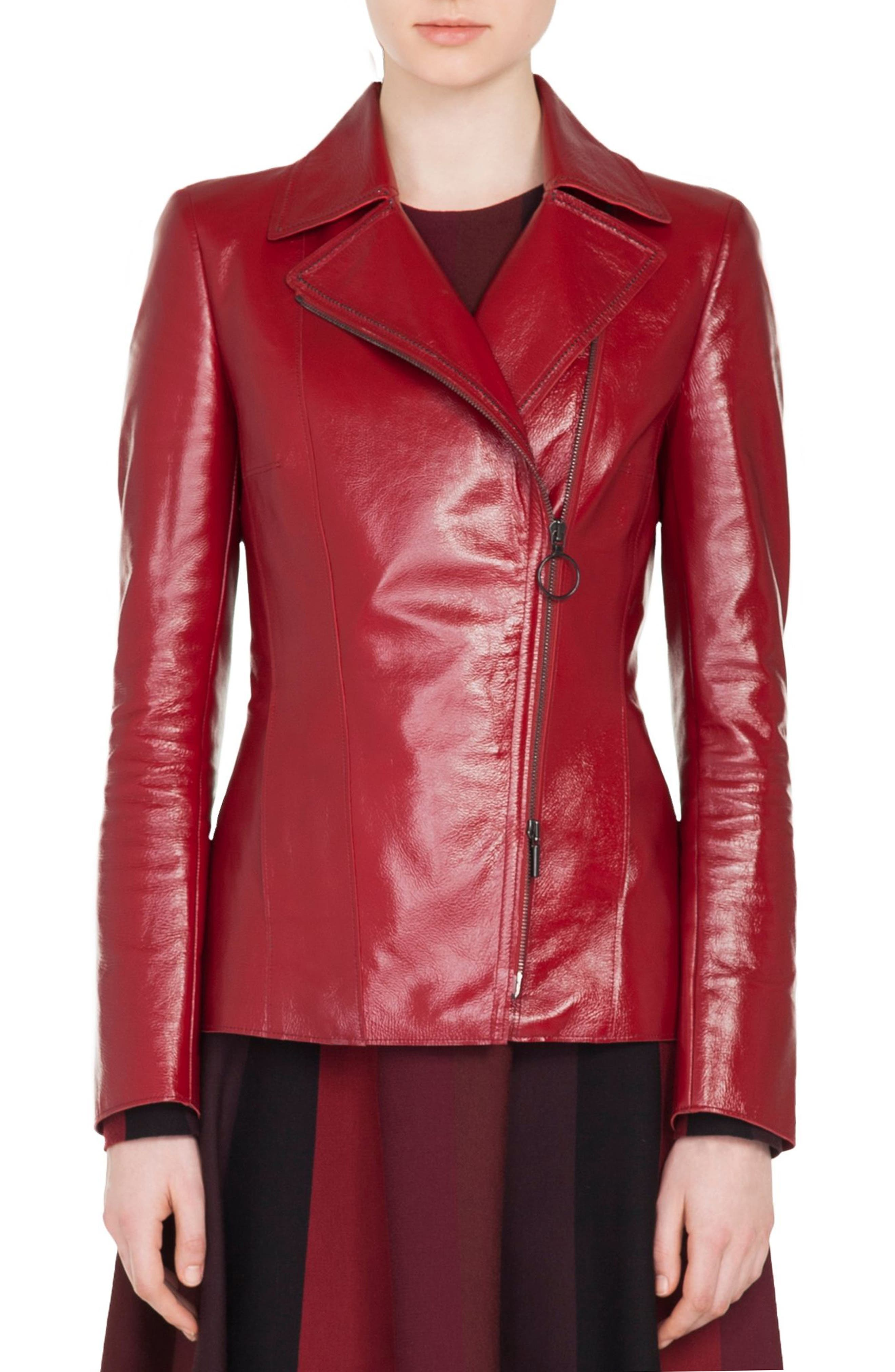 AKRIS PUNTO Zip-Front Patent Leather Biker Jacket in Ruby