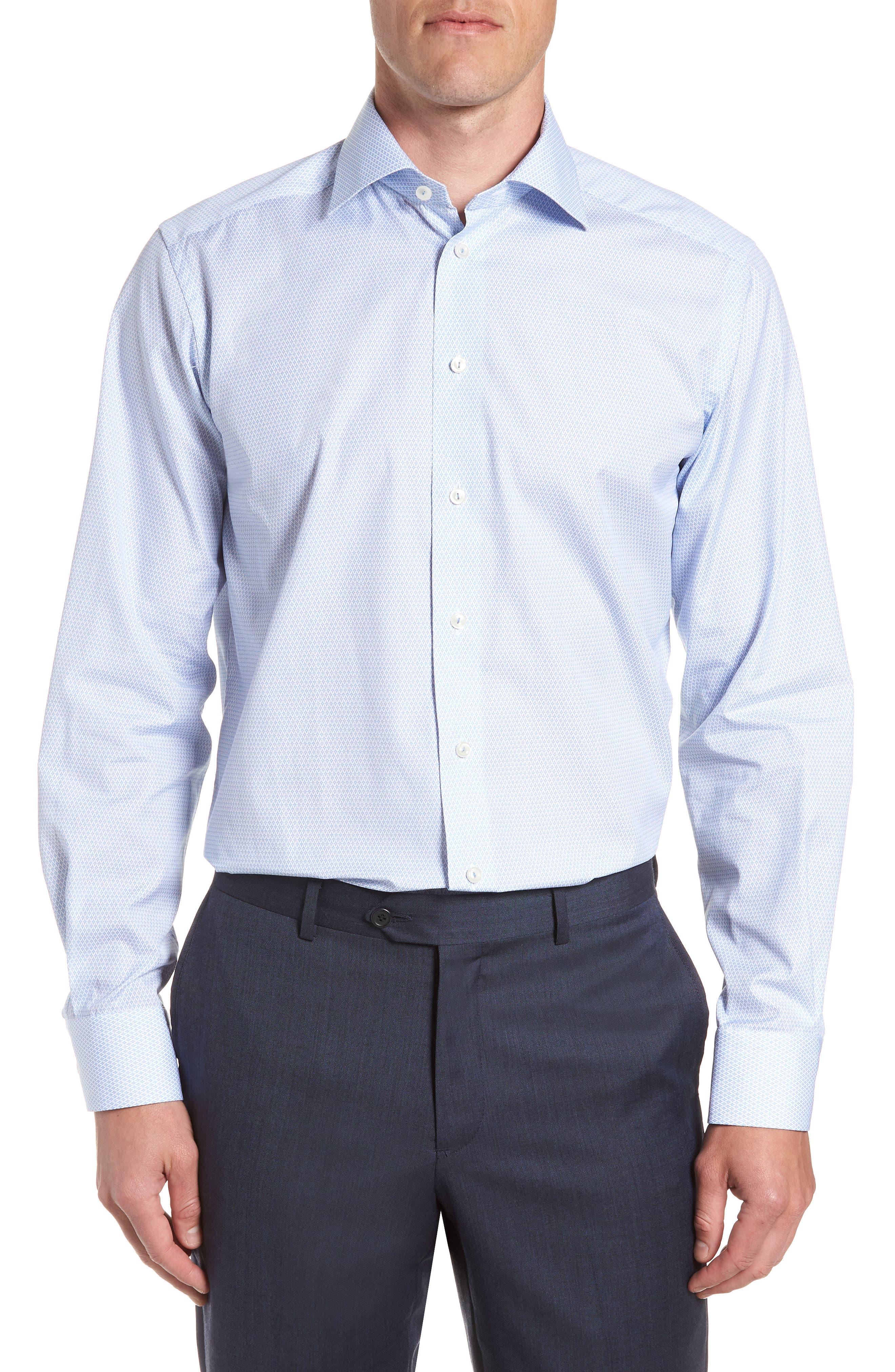 Contemporary Fit Print Dress Shirt,                         Main,                         color, BLUE