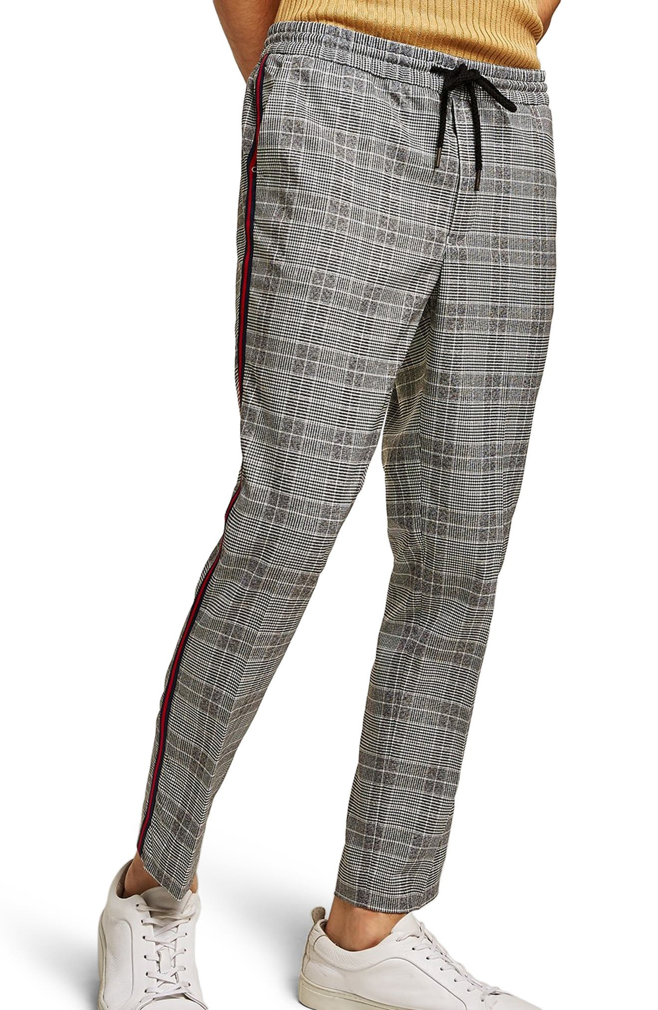 Check Side Stripe Slim Fit Joggers,                             Main thumbnail 1, color,                             020
