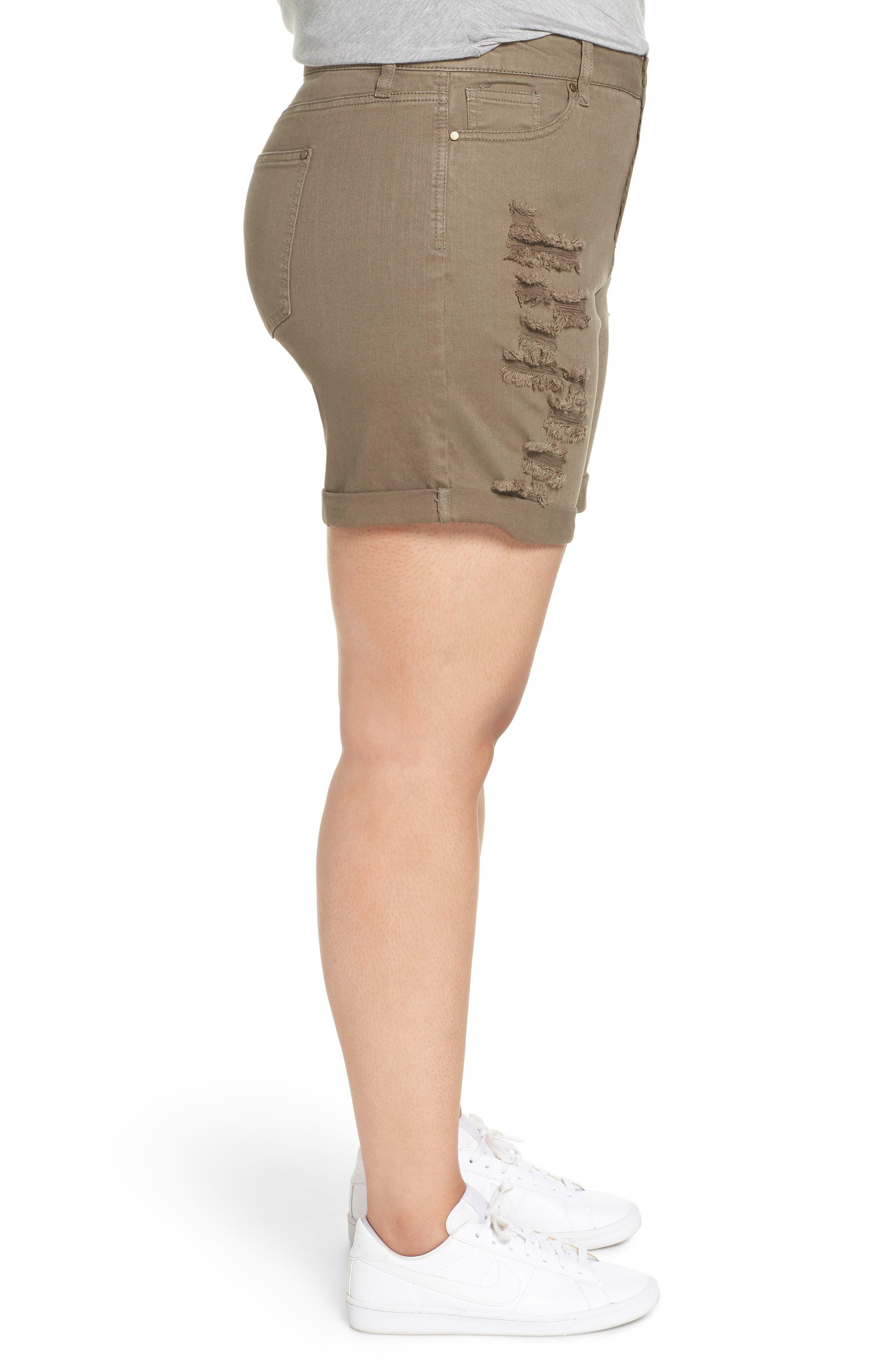 Ripped Bermuda Shorts,                             Alternate thumbnail 3, color,                             OLIVE