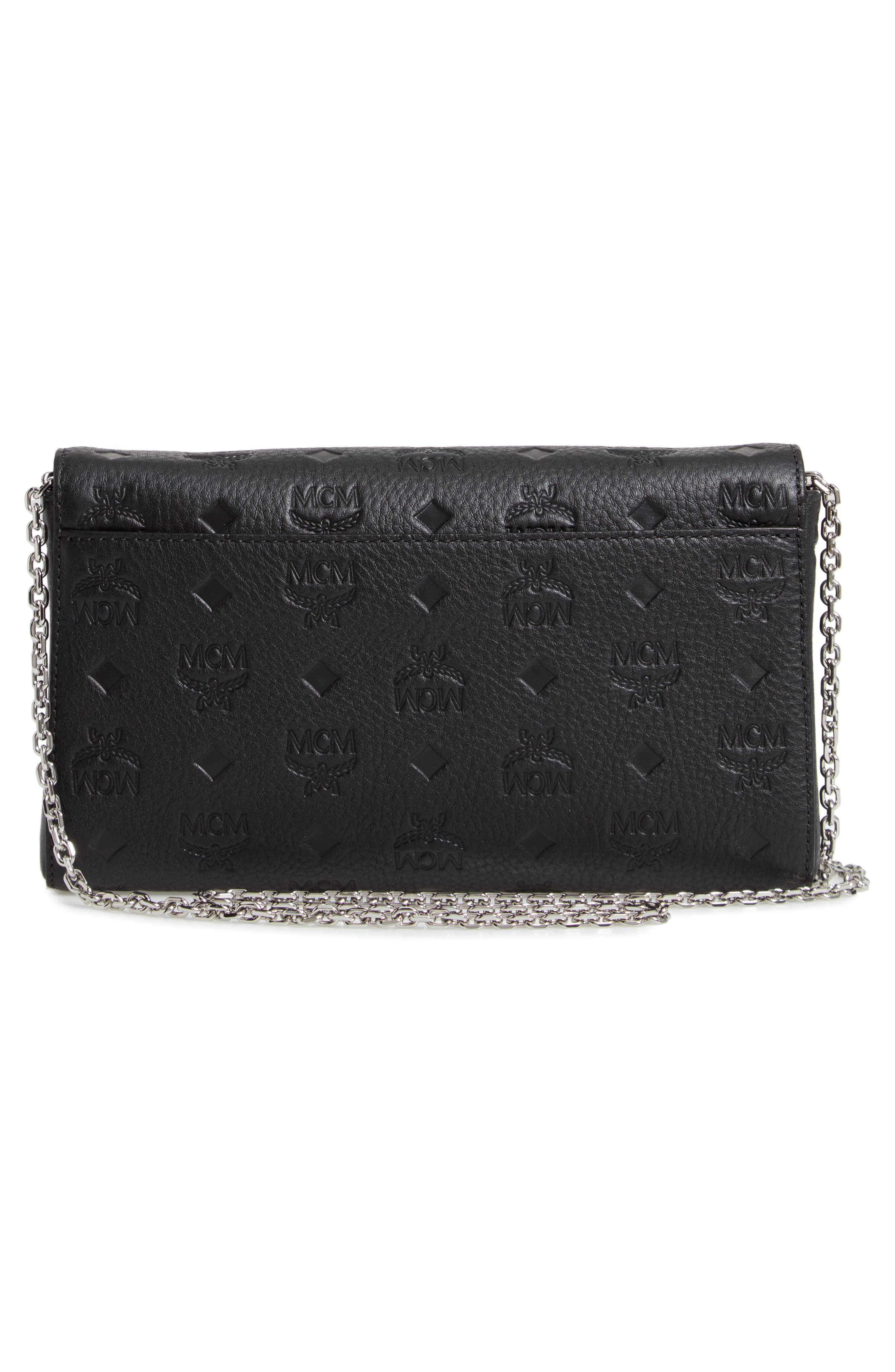 Millie Medium Calfskin Leather Wallet on a Chain,                             Alternate thumbnail 3, color,                             BLACK