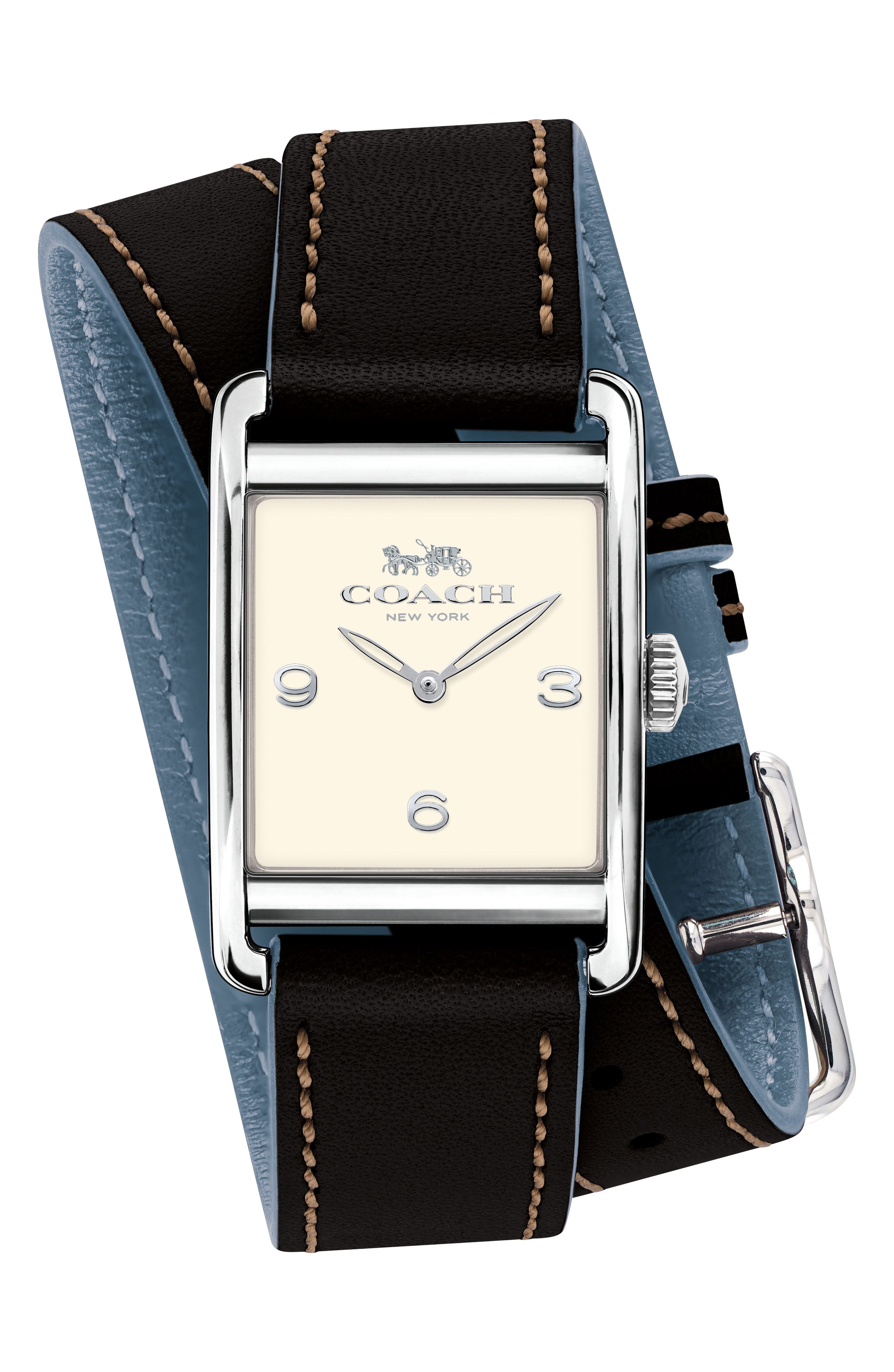 Renwick Double Wrap Leather Strap Watch, 24mm x 35mm,                         Main,                         color, 001