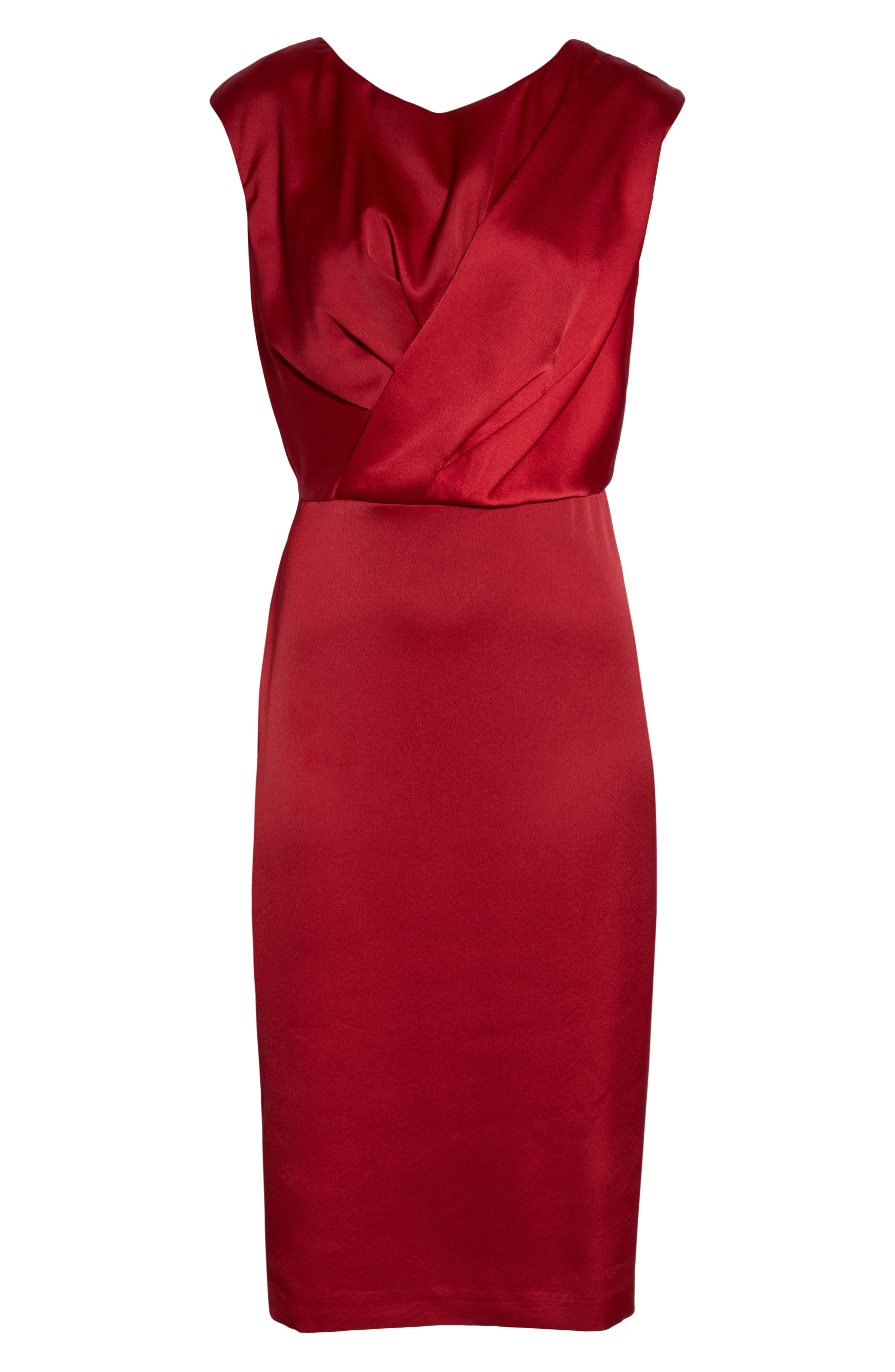 MAGGY LONDON,                             Crossover Bodice Satin Midi Dress,                             Alternate thumbnail 3, color,                             MAJESTIC SCARLET
