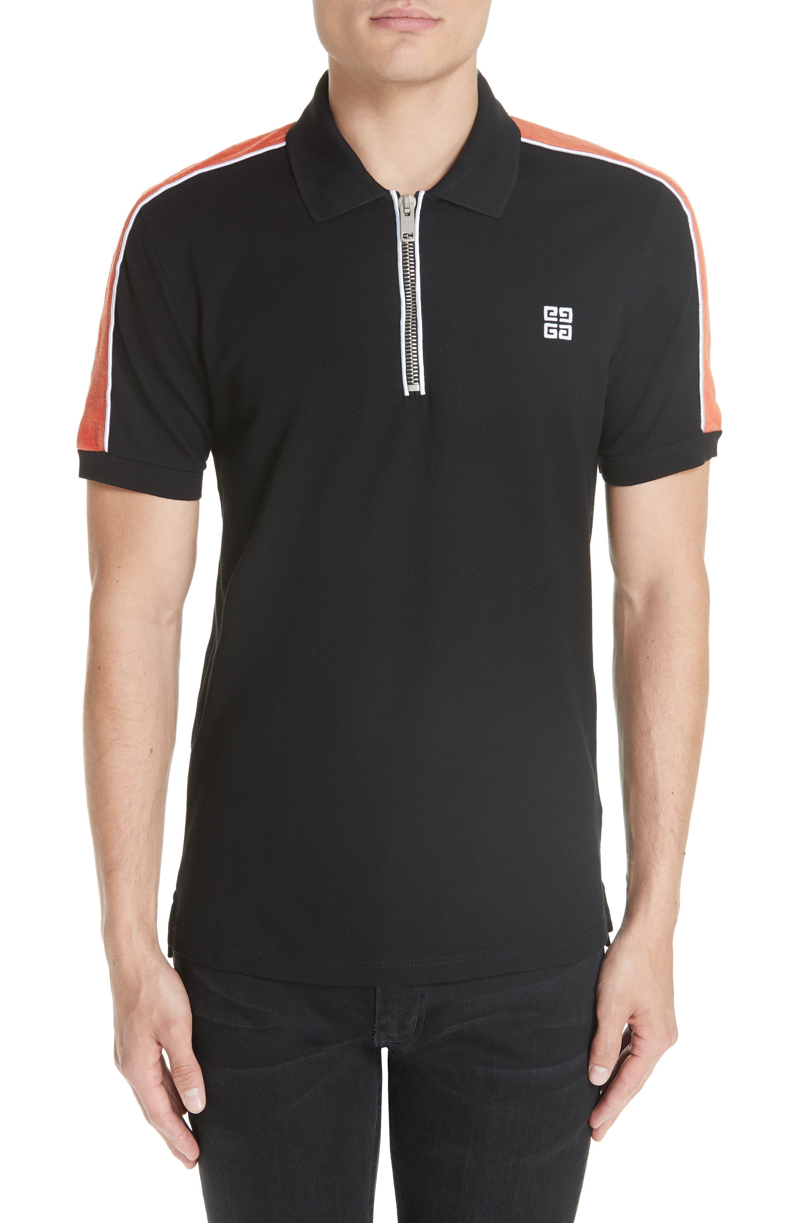 Velvet Sleeve Piqué Polo,                         Main,                         color, BLACK/ ORANGE