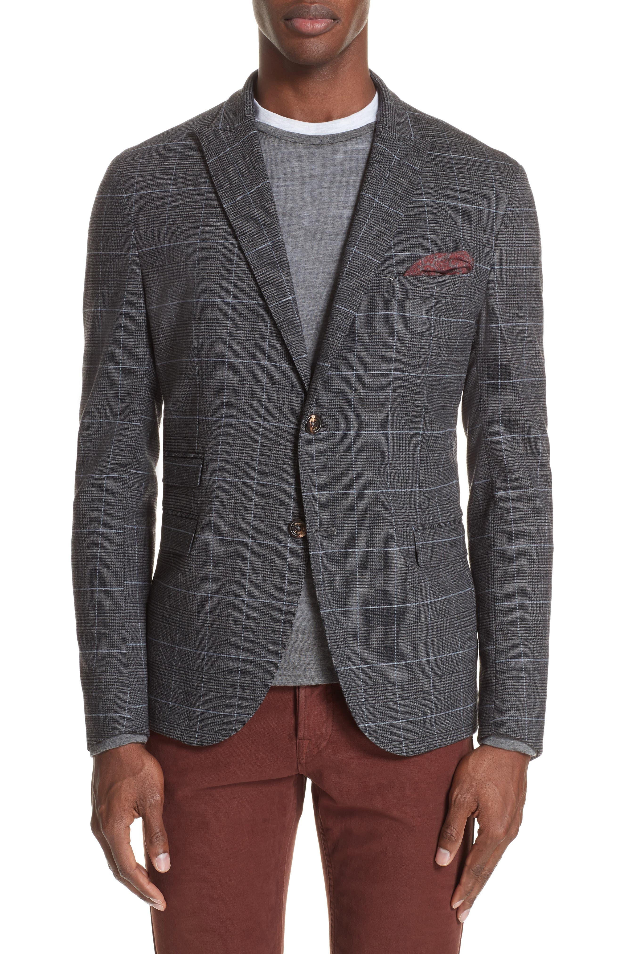 Trim Fit Stretch Plaid Wool Sport Coat,                         Main,                         color, GREY