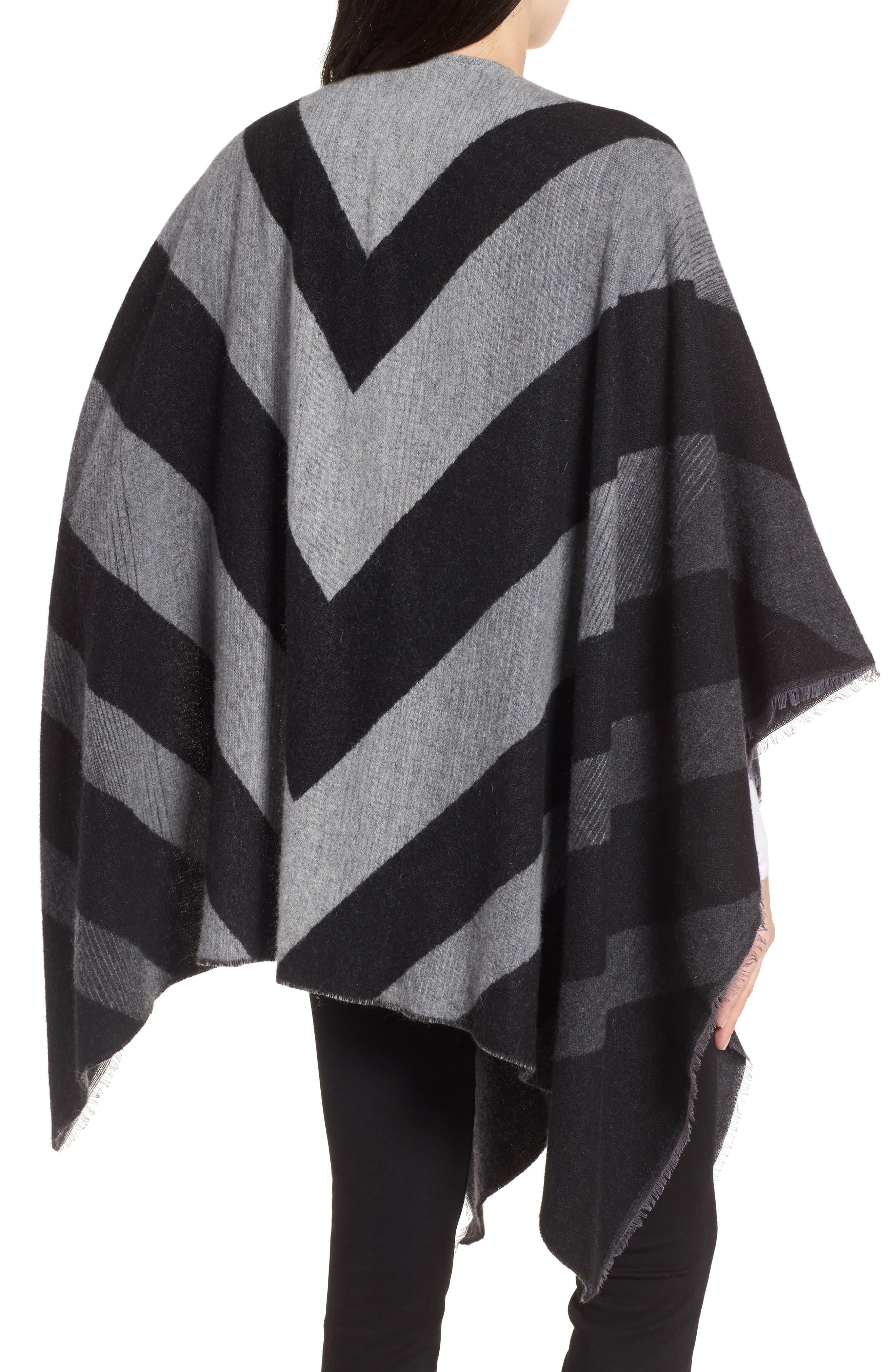 Stripe Wool Blend Poncho Wrap,                             Alternate thumbnail 2, color,                             030