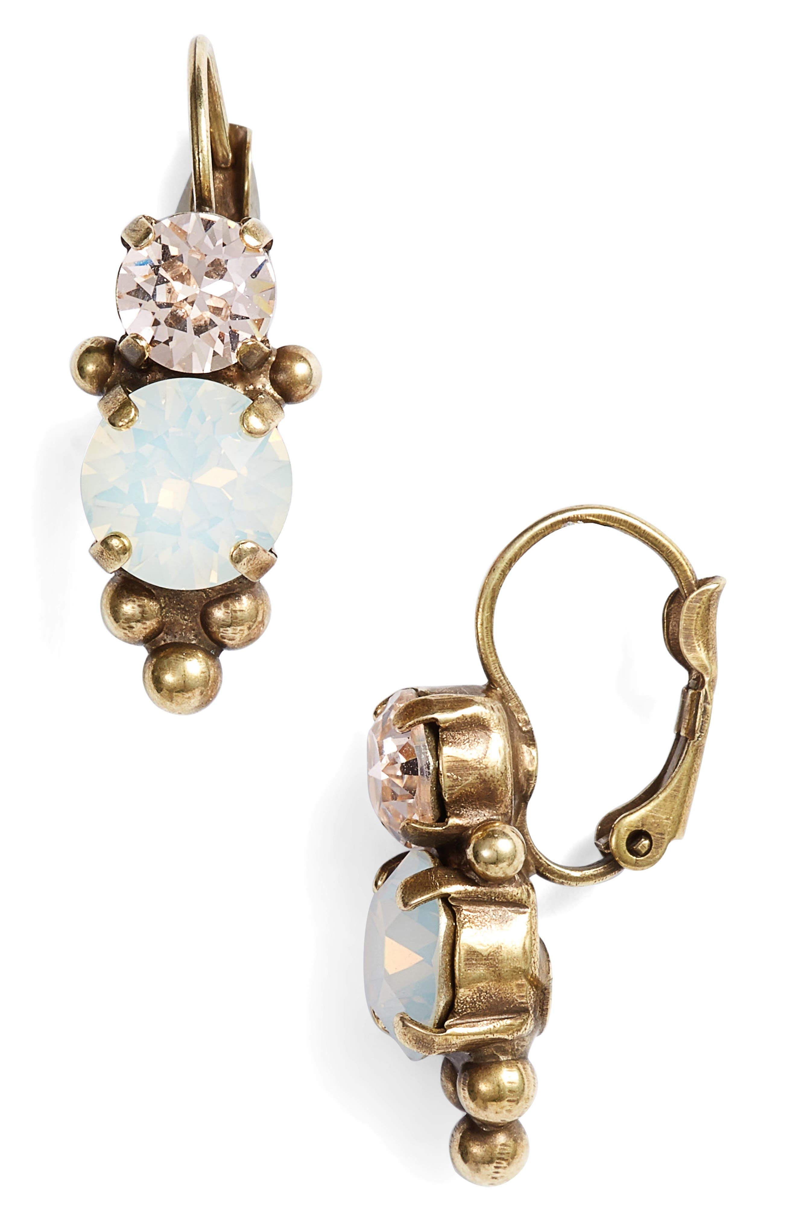 Ornate Crystal Rounds Drop Earrings,                             Main thumbnail 1, color,                             WHITE