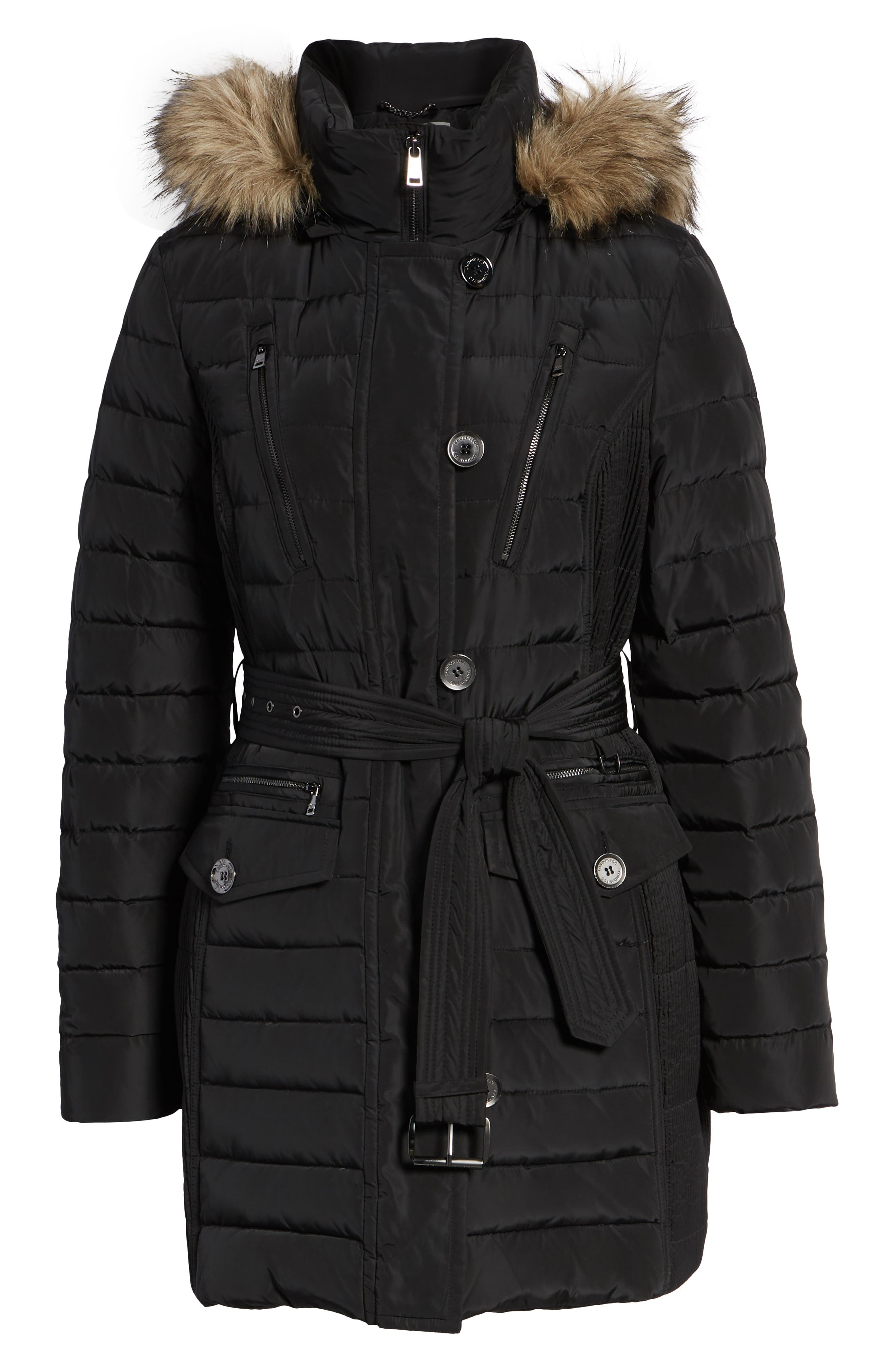 Belted Down Coat with Faux Fur Trim,                             Alternate thumbnail 6, color,                             BLACK