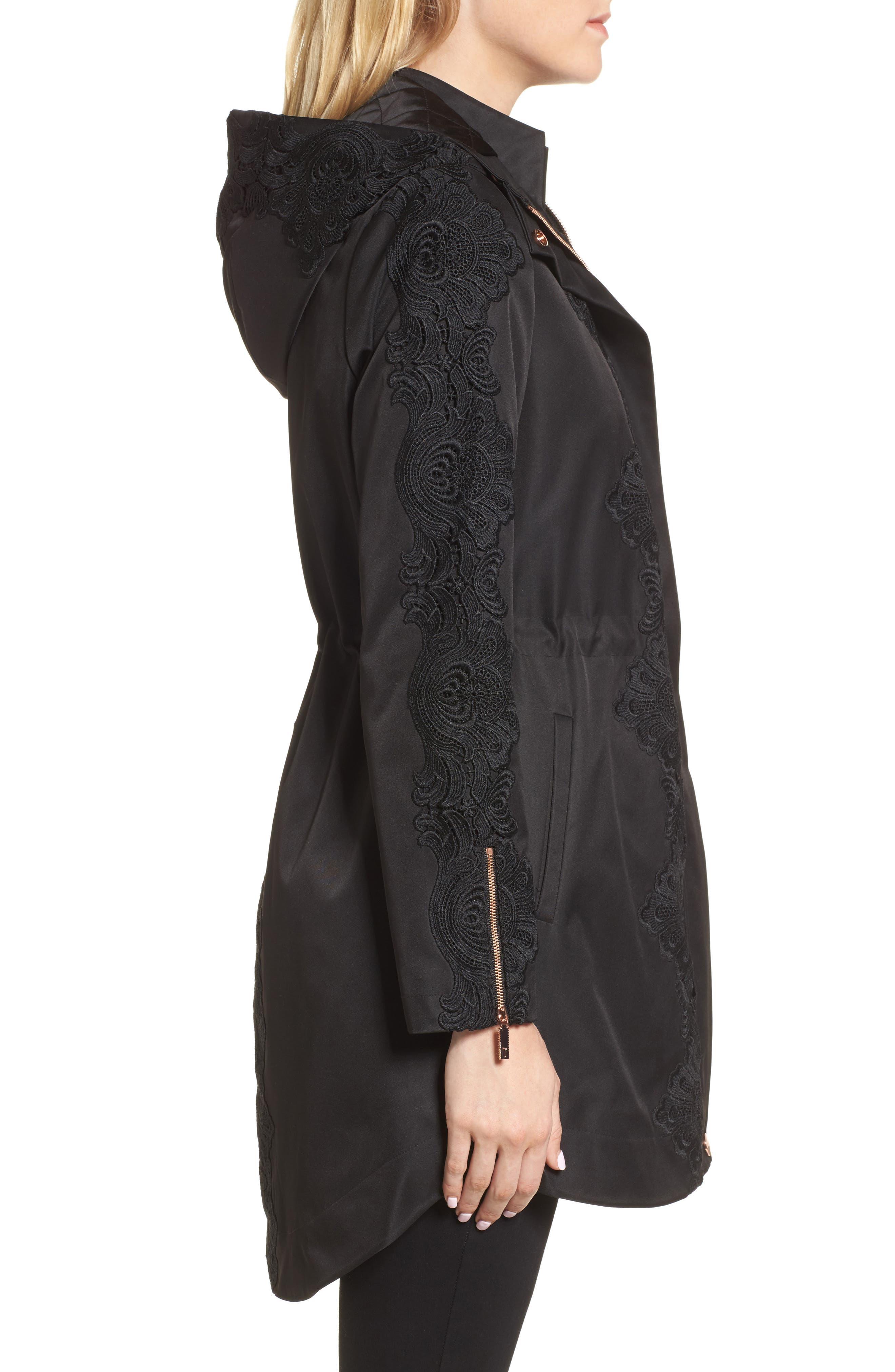 Lace Detail Anorak Jacket,                             Alternate thumbnail 3, color,                             001