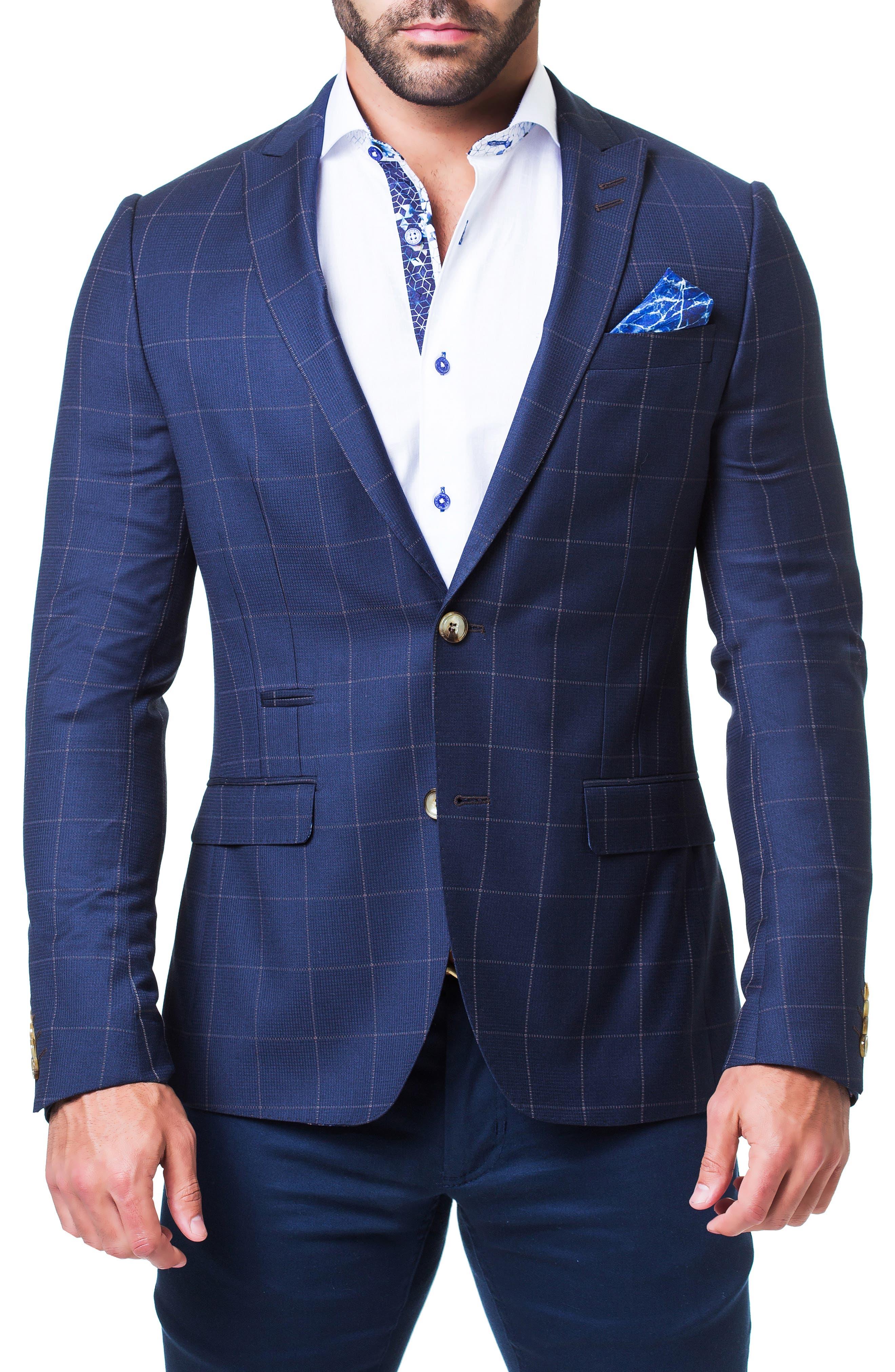 MACEOO Plaid Sport Coat in Blue