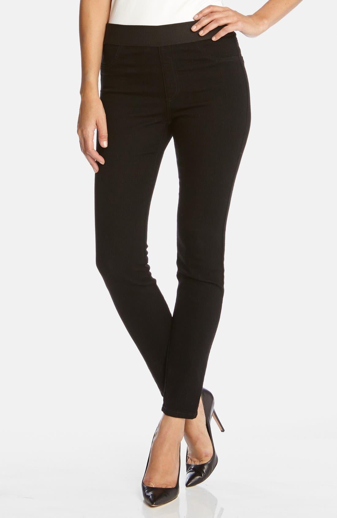 Dark Rinse Denim Leggings,                         Main,                         color, BLACK
