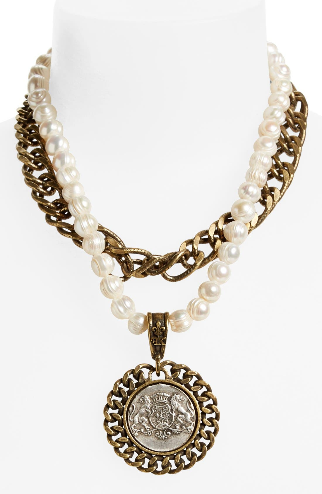 'Aimé' Medallion Pearl Necklace,                             Main thumbnail 1, color,                             100