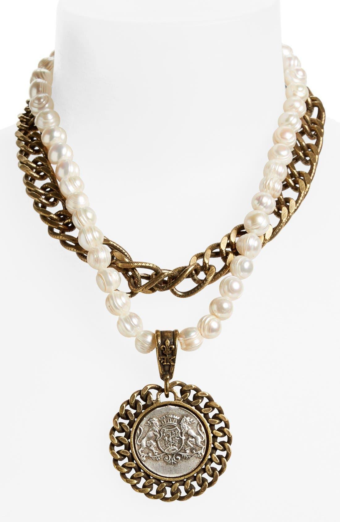 'Aimé' Medallion Pearl Necklace, Main, color, 100