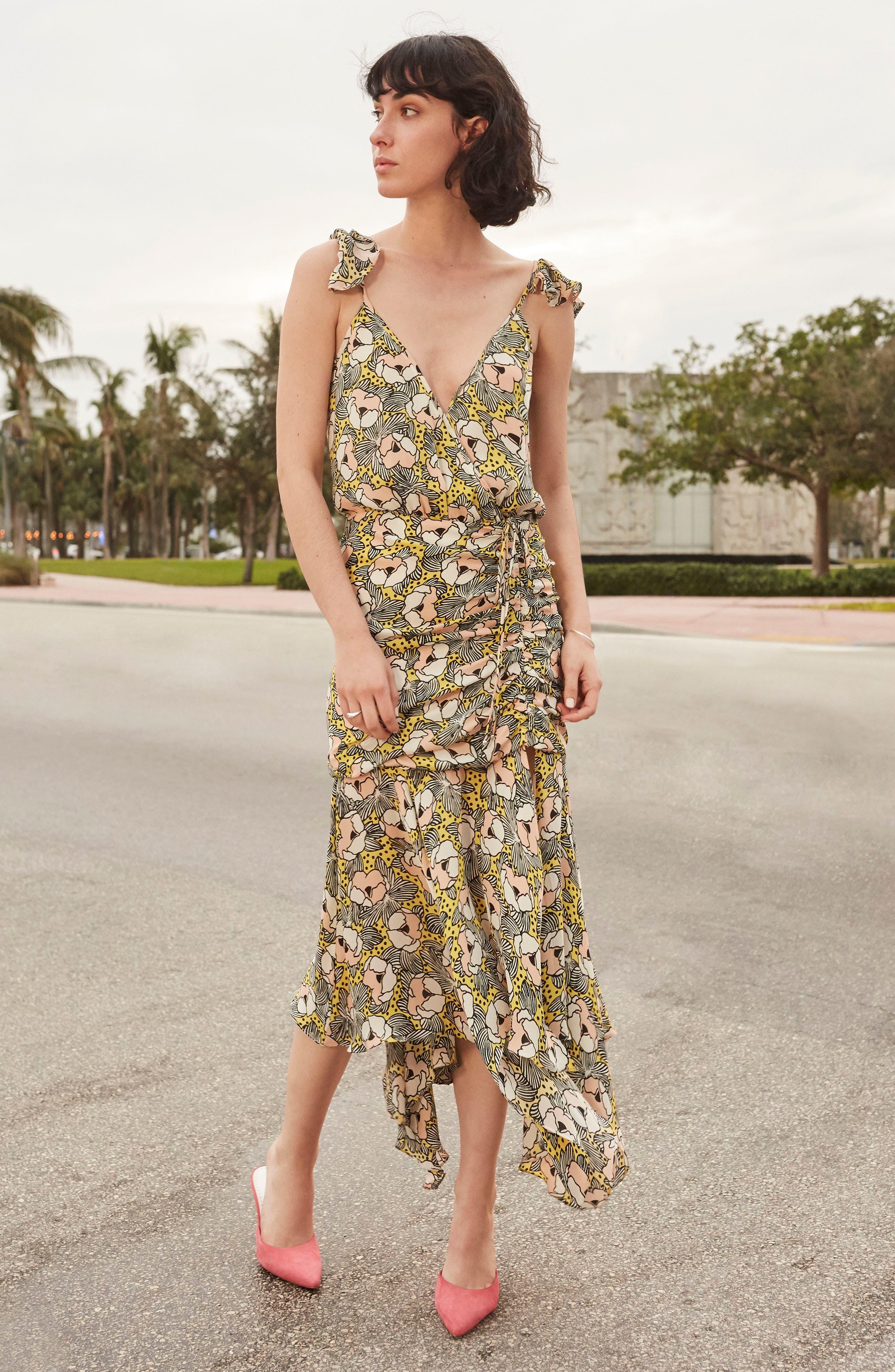 Martine Floral Print Dress,                             Alternate thumbnail 3, color,