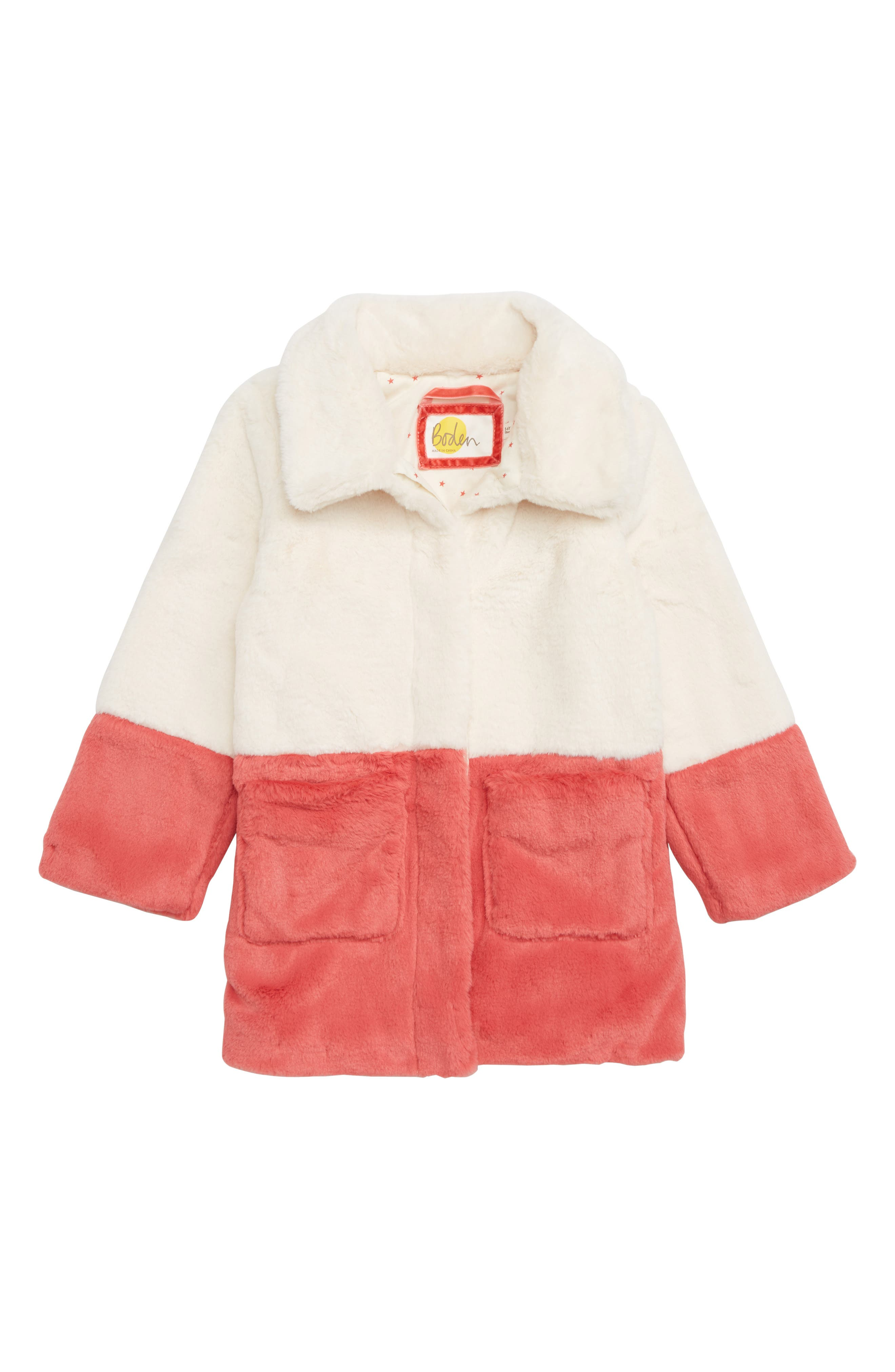 Party Colorblock Faux Fur Coat,                         Main,                         color, ECRU COLOURBLOCK