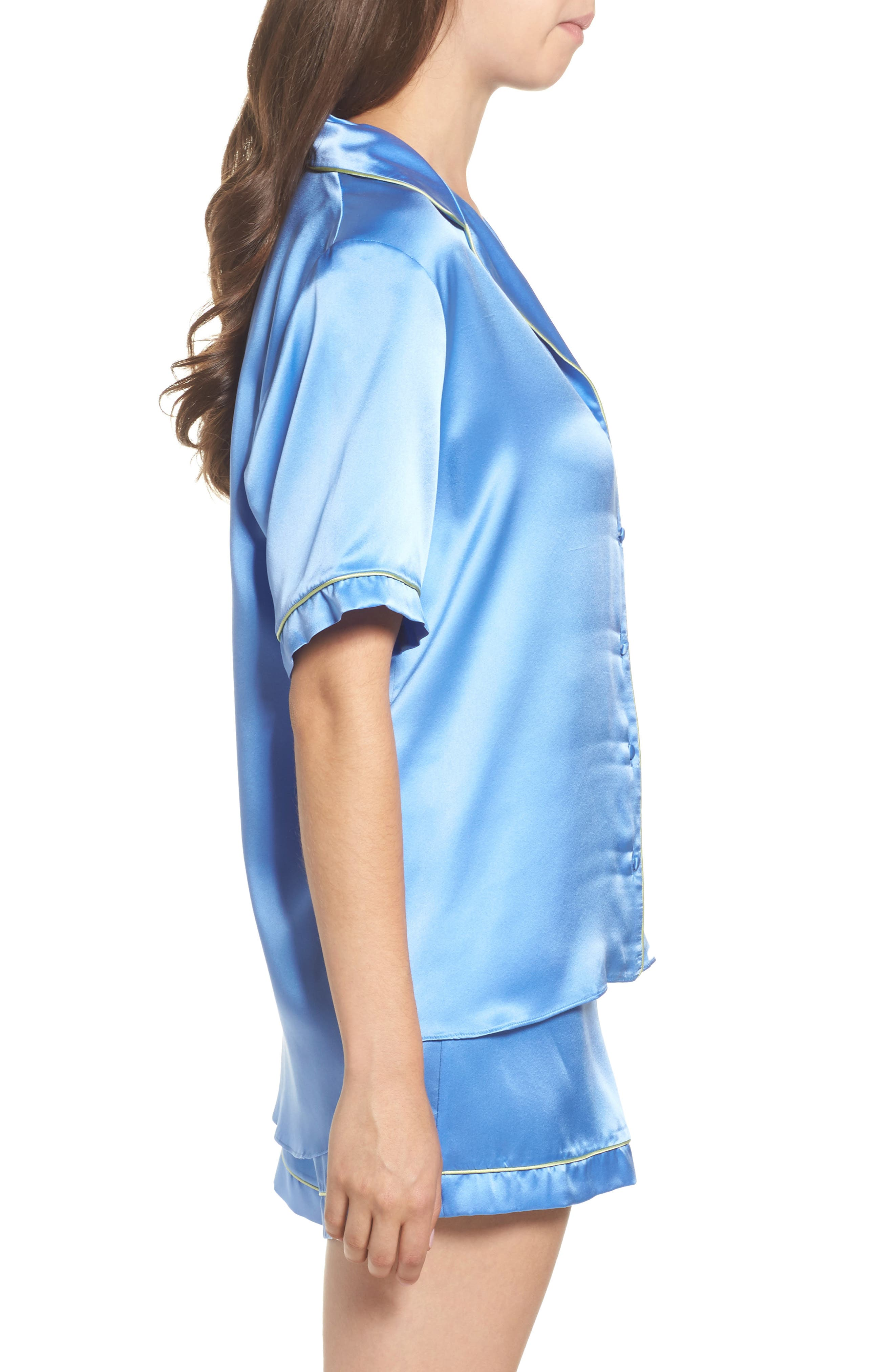 Silk Short Pajamas,                             Alternate thumbnail 3, color,                             MEDITERRANEAN BLUE / KEYLIME