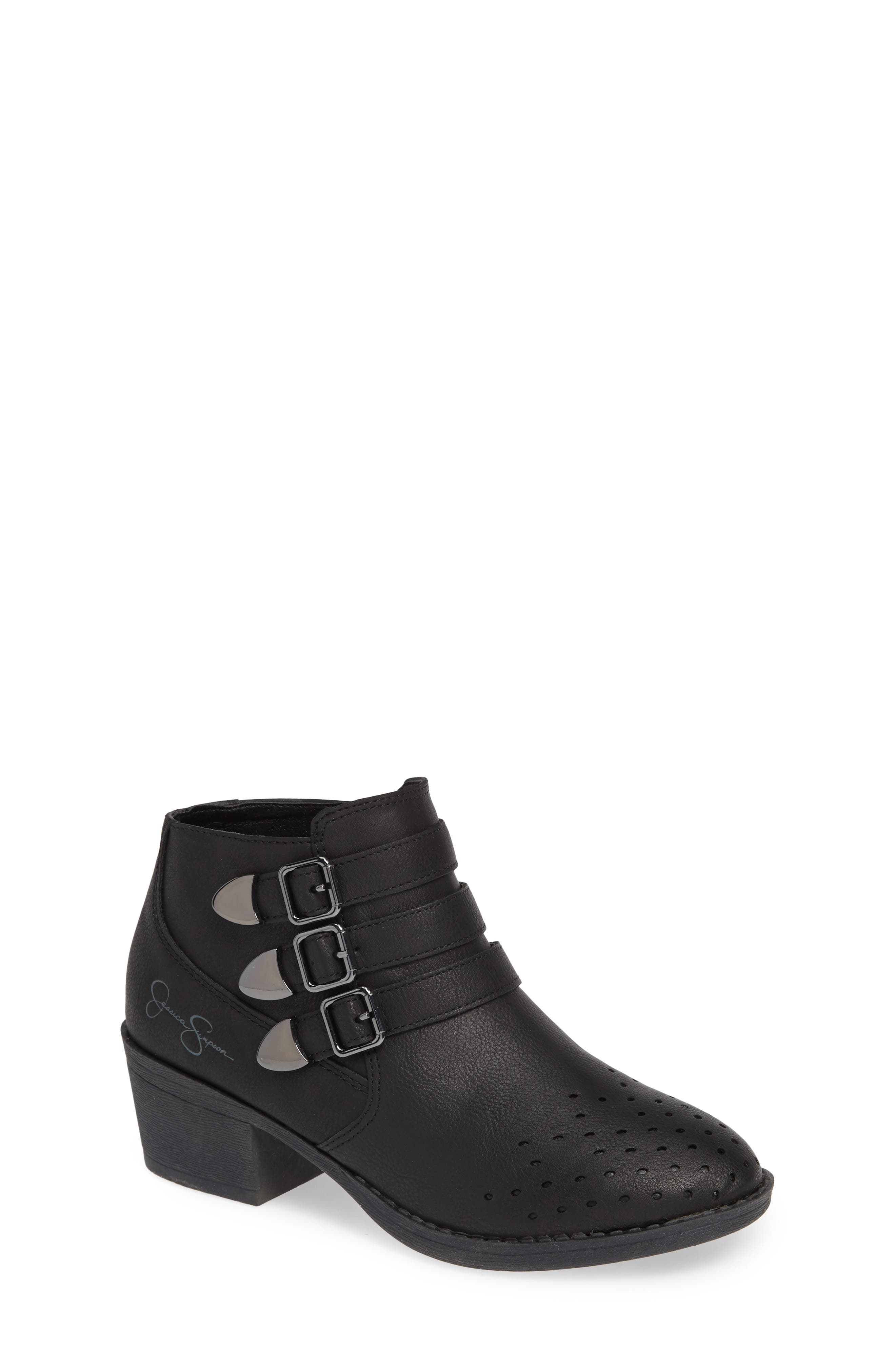 Perforated Buckle Bootie,                         Main,                         color, BLACK HUDSON