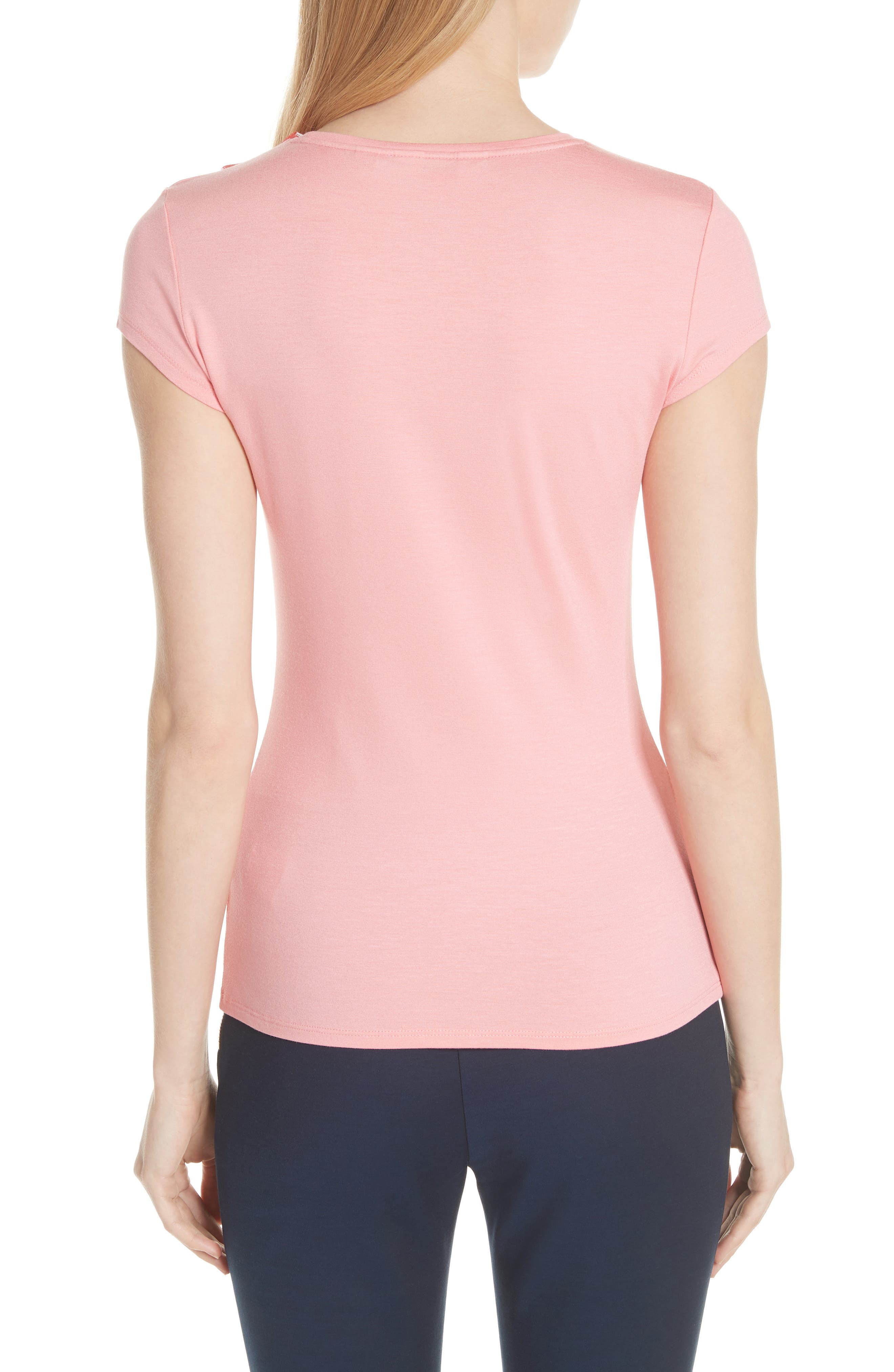 Ted Baker Bow Trim Tee,                             Alternate thumbnail 4, color,