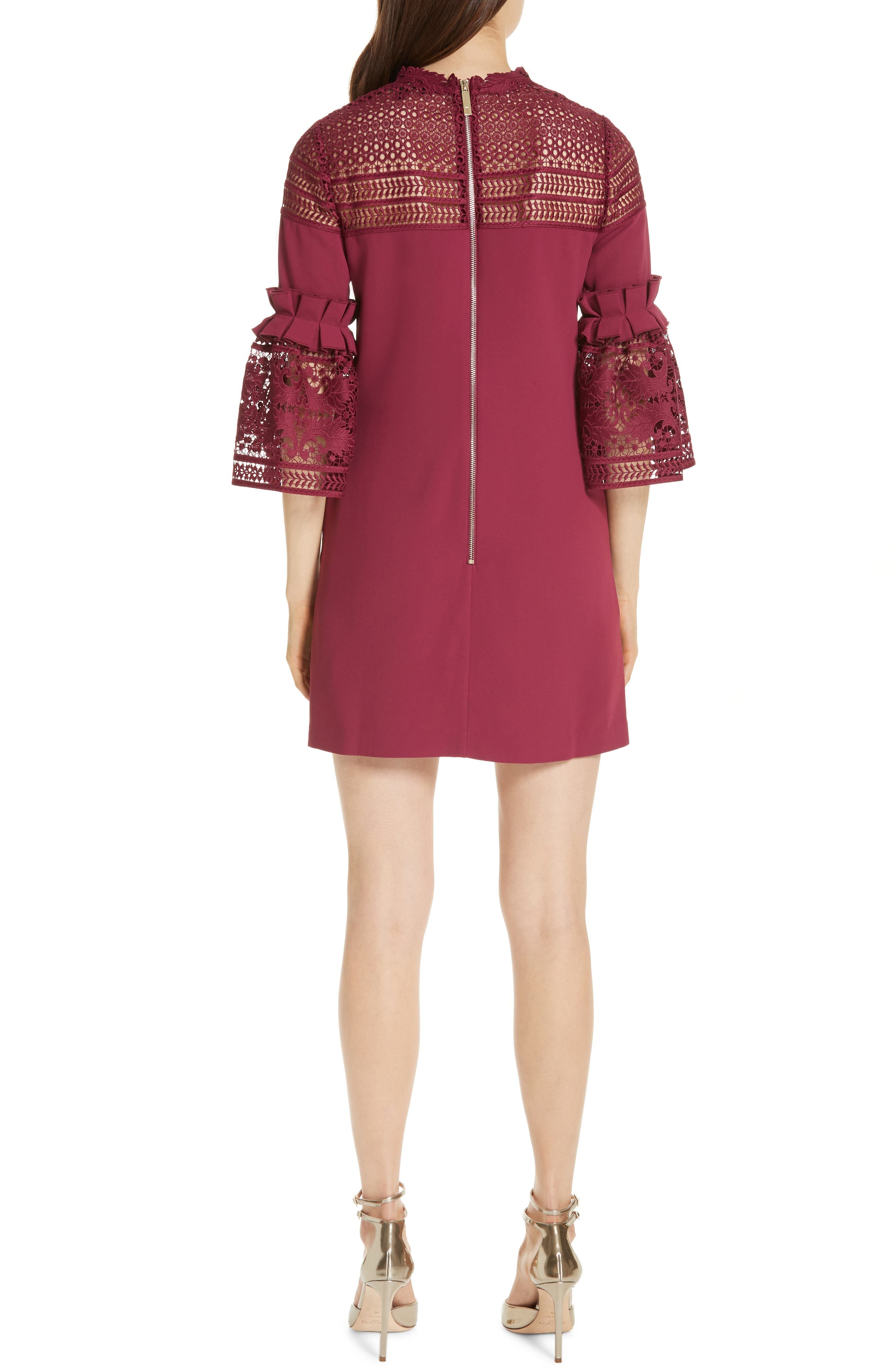 Lace Panel Bell Sleeve Tunic Dress,                             Alternate thumbnail 2, color,                             MAROON