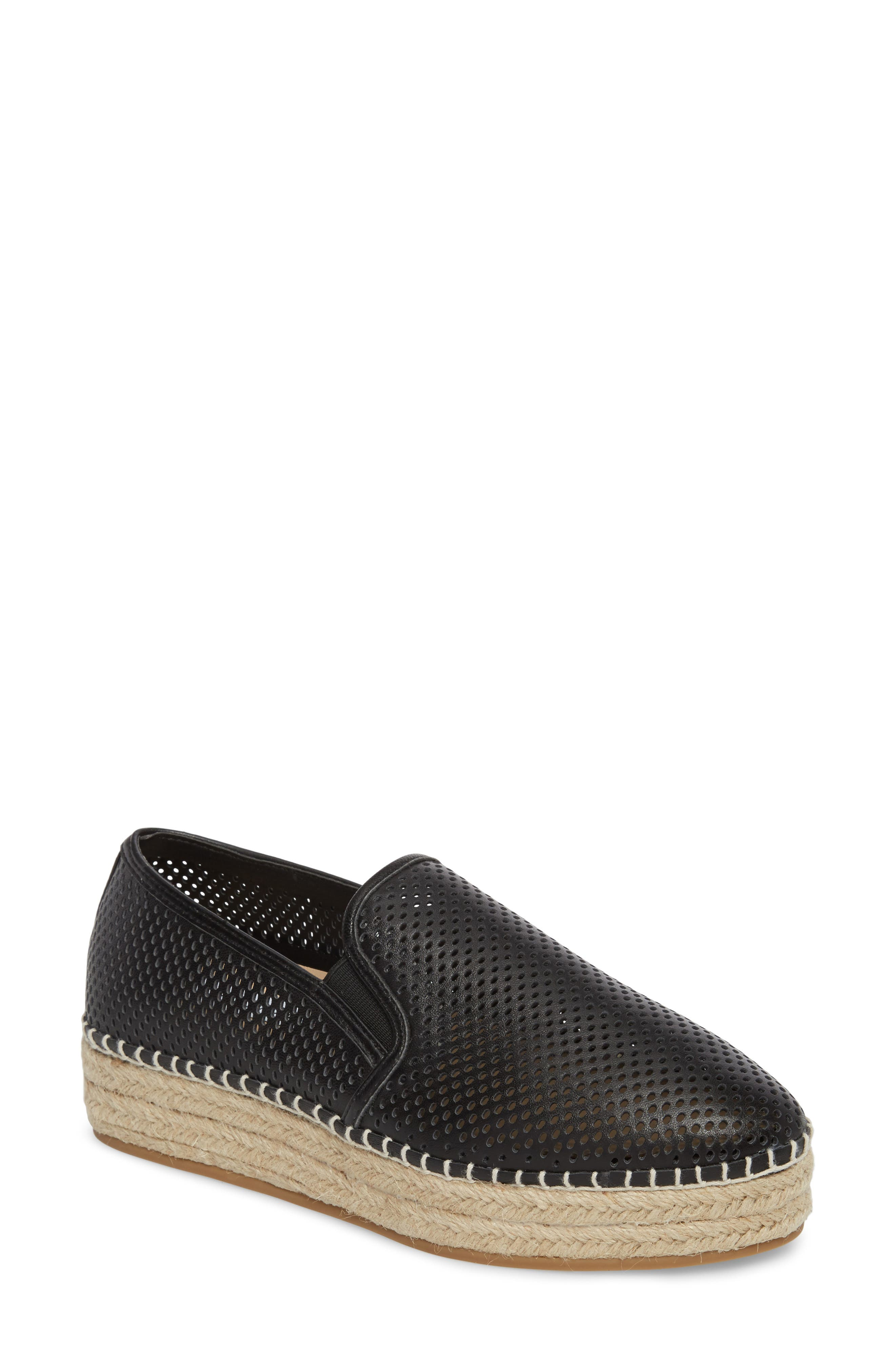 Wright Perforated Platform Espadrille,                             Main thumbnail 1, color,                             001