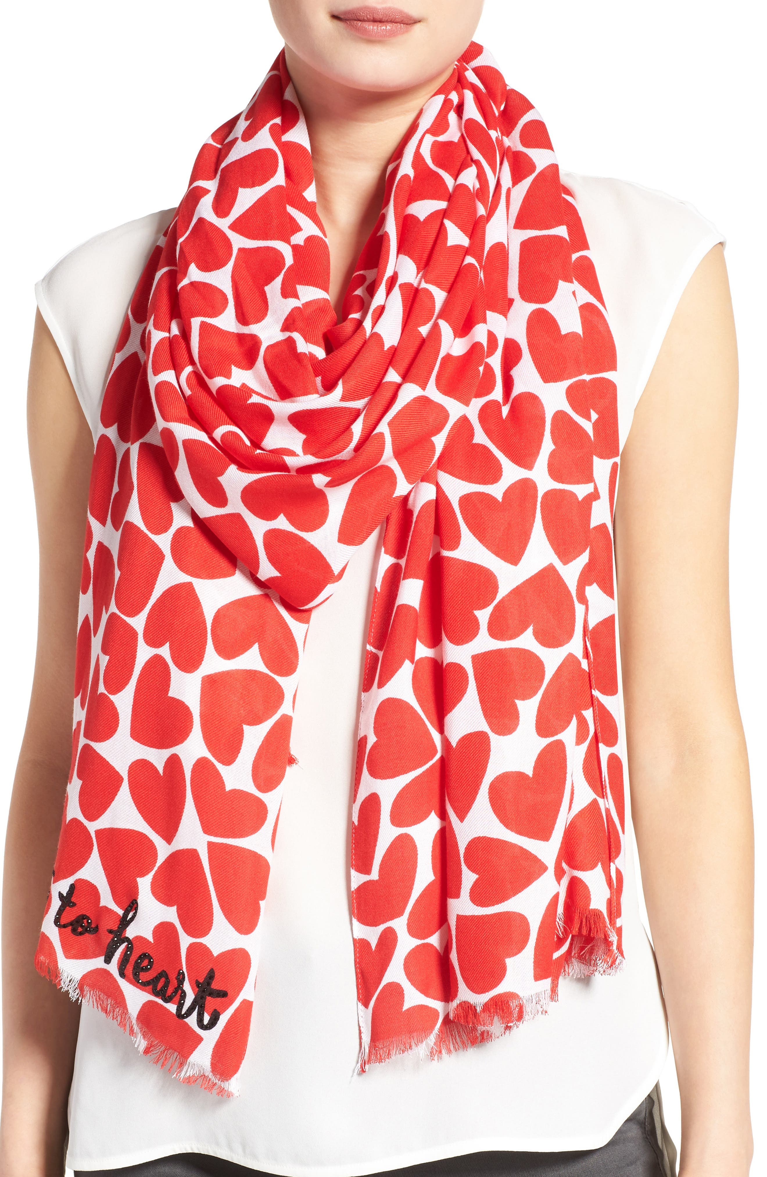 KATE SPADE NEW YORK heart to heart scarf, Main, color, 607