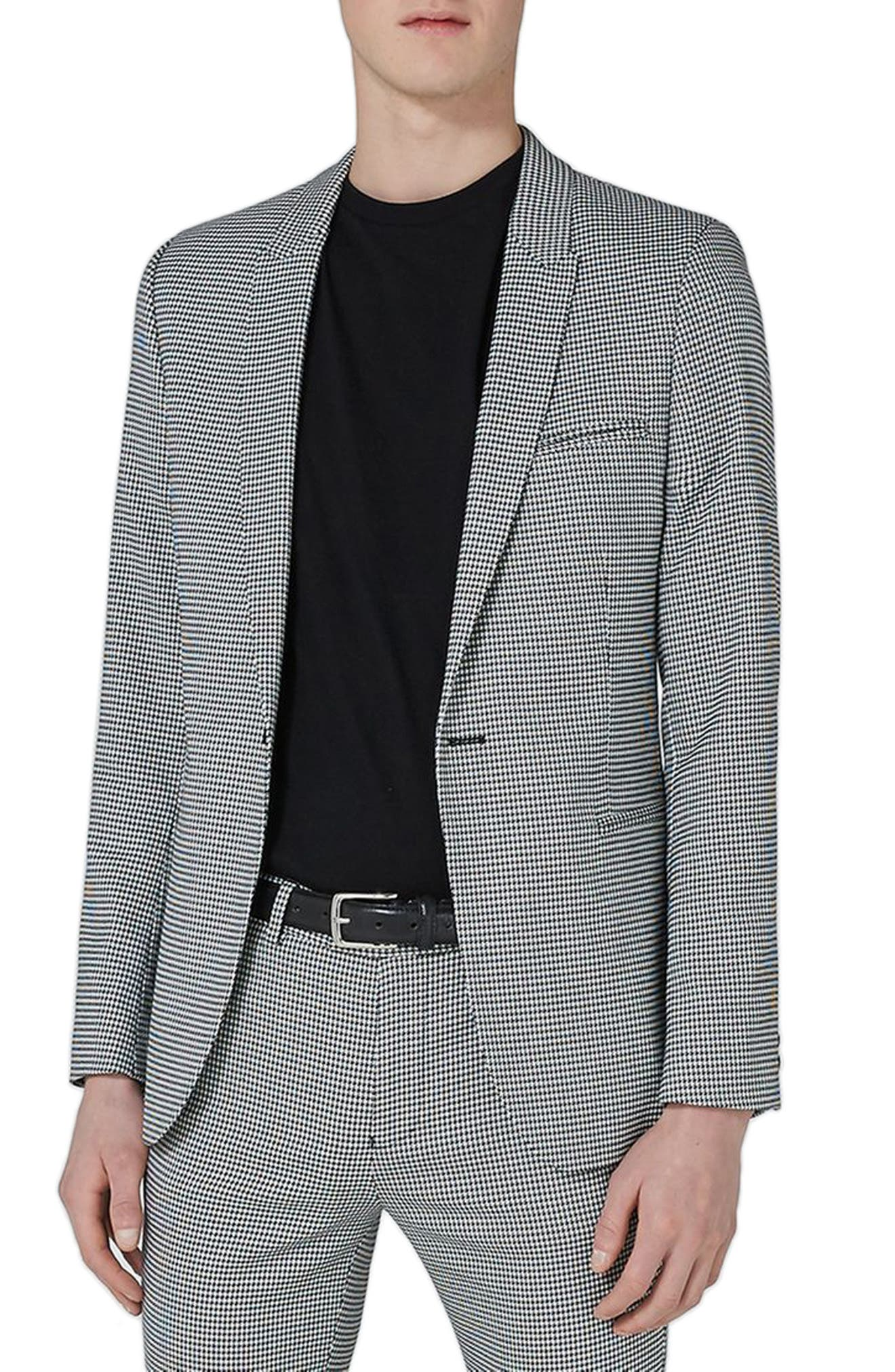 Ultra Skinny Fit Houndstooth Suit Jacket,                         Main,                         color, 020