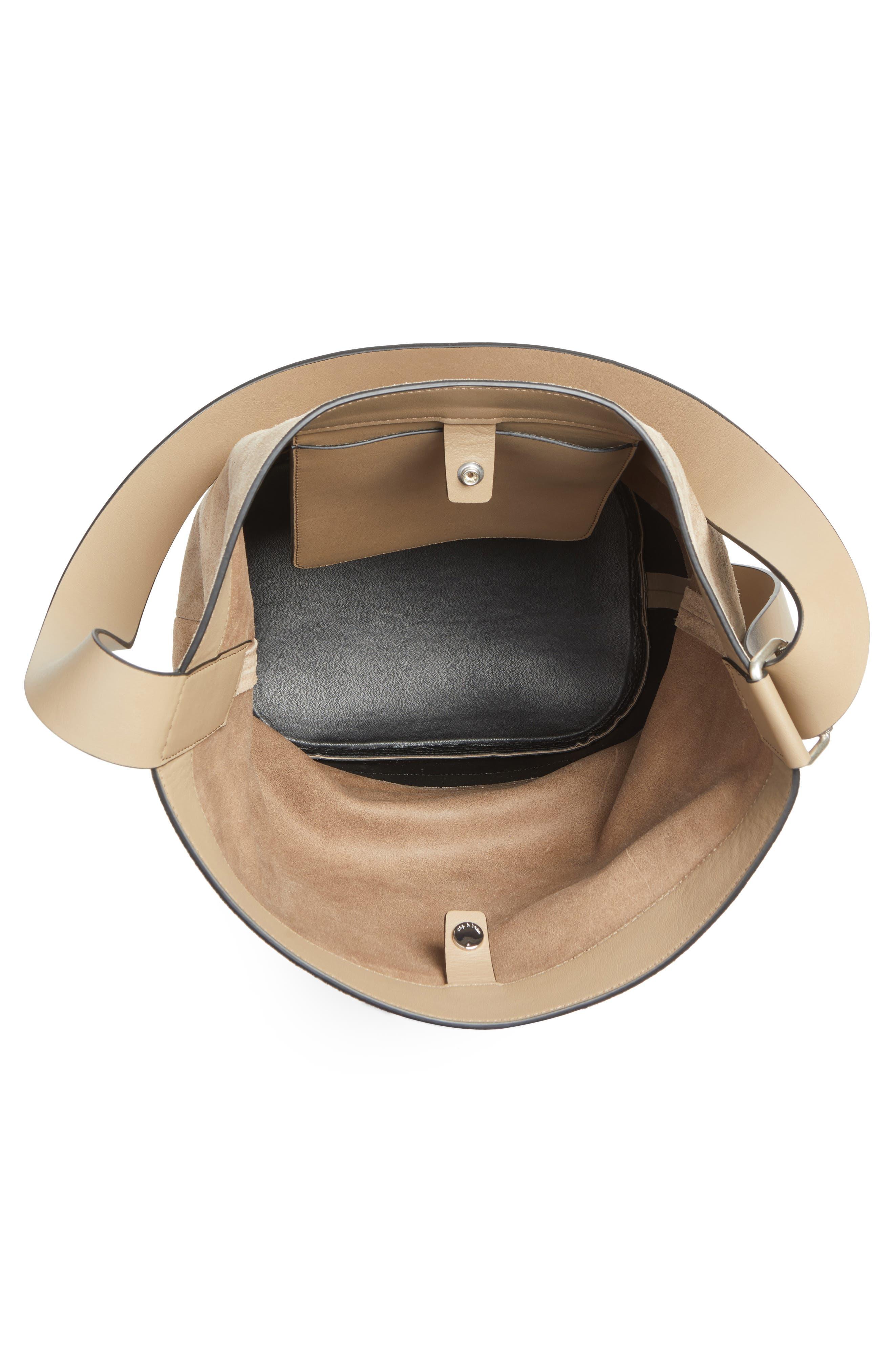 rag and bone Walker Sling Leather & Suede Bucket Bag,                             Alternate thumbnail 3, color,                             099